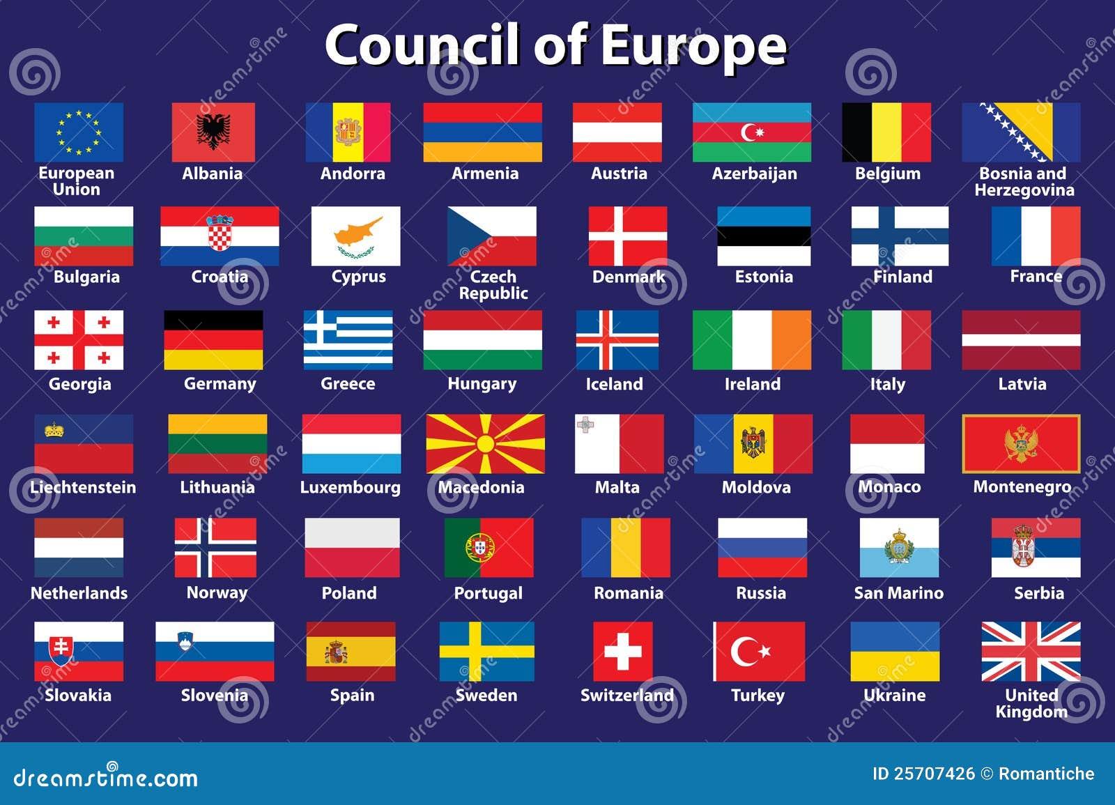 Verwonderend De Vlaggen Van De Raad Van Europa Vector Illustratie - Illustratie EG-72