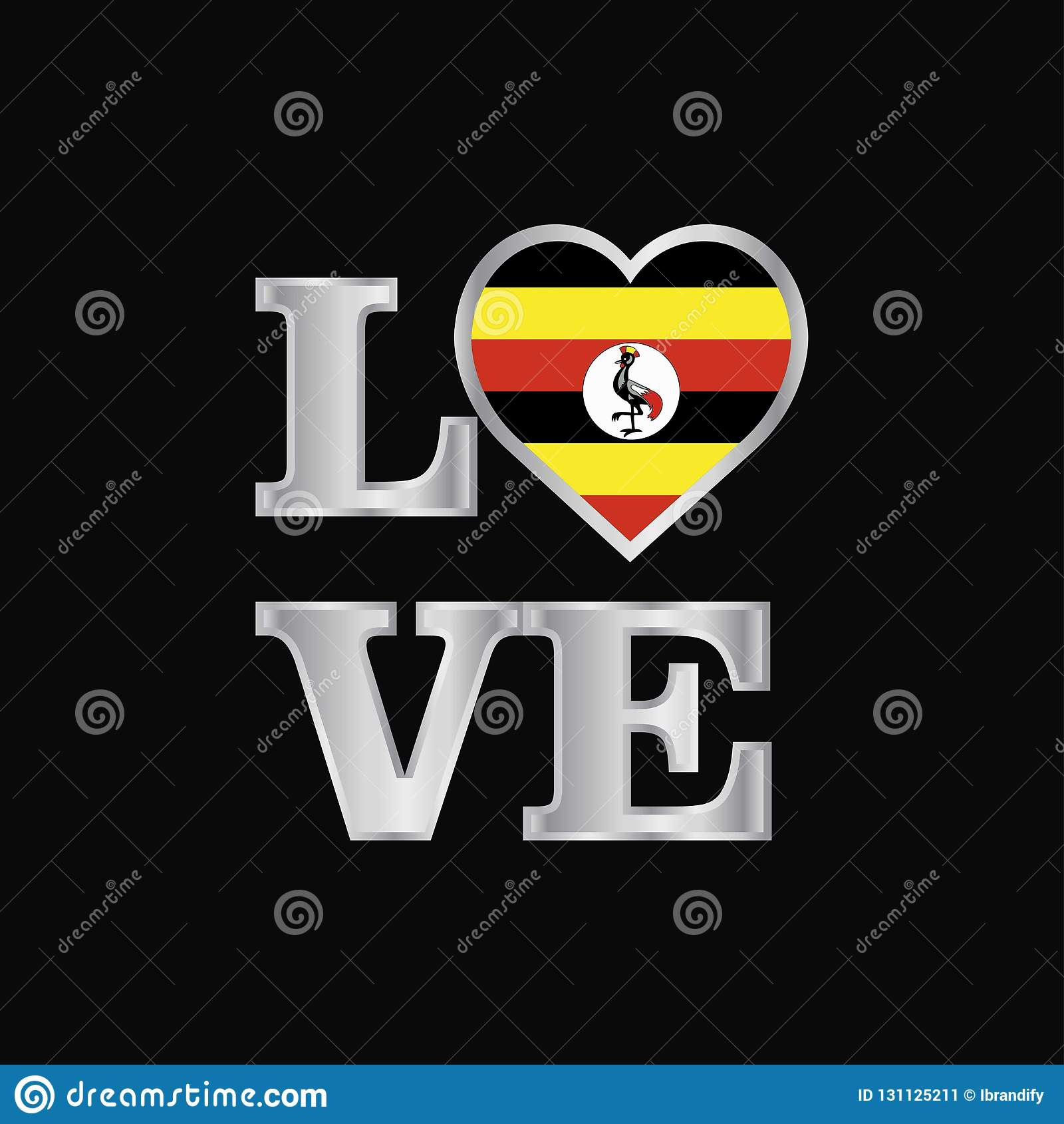 De vlagontwerp van Oeganda van de liefdetypografie het vector mooie van letters voorzien