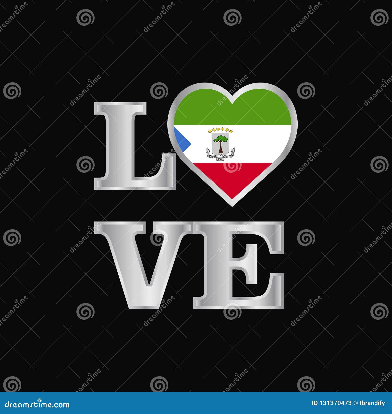 De vlagontwerp vector mooi l van Equatoriaal-Guinea van de liefdetypografie