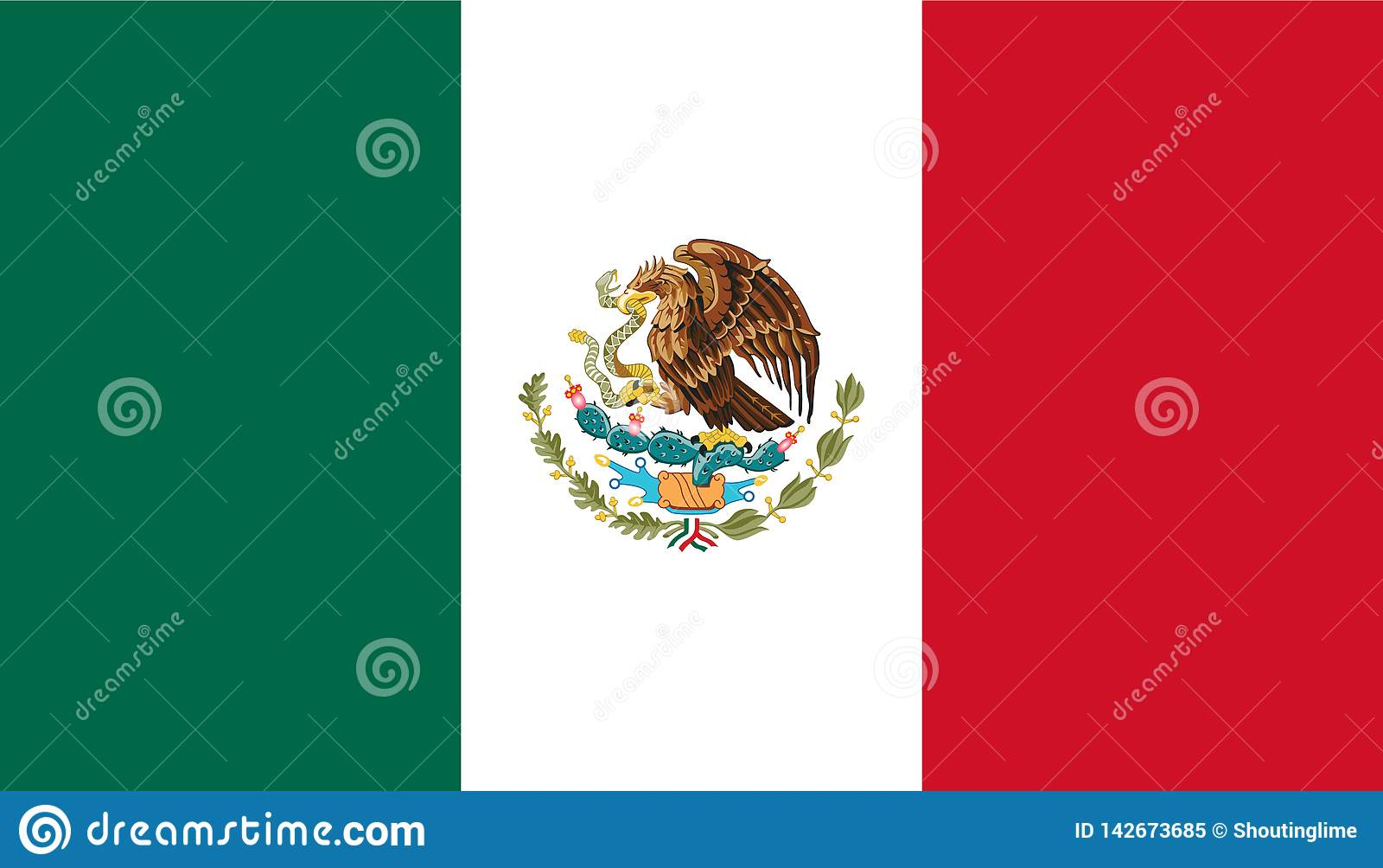 De de vlagvector van Mexico isoleert de illustratie van de Webdruk