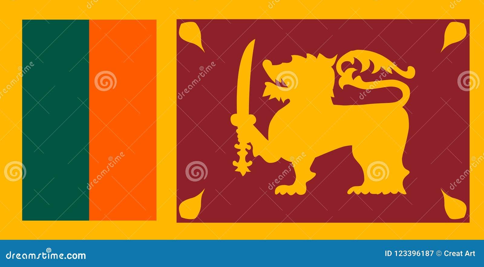De vlagvector van Sri Lanka Illustratie van Sri Lanka-vlag