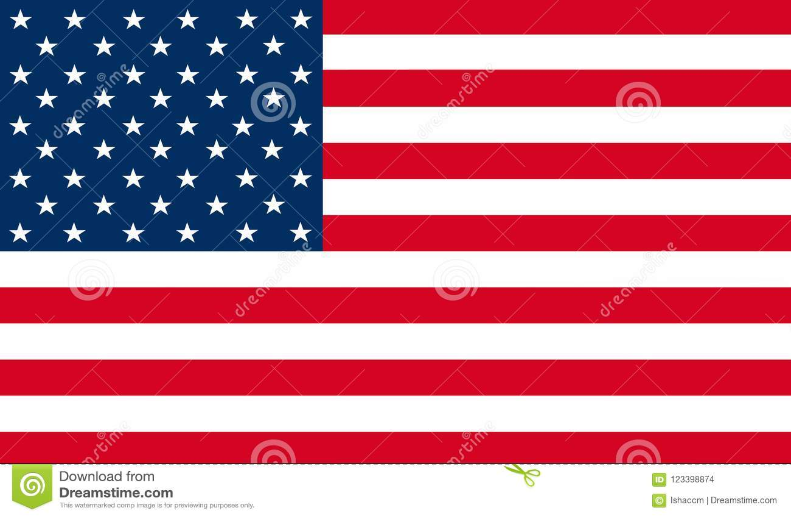 De vlagvector van de Verenigde Staten van Amerika Illustratie van Amerikaanse nationaal