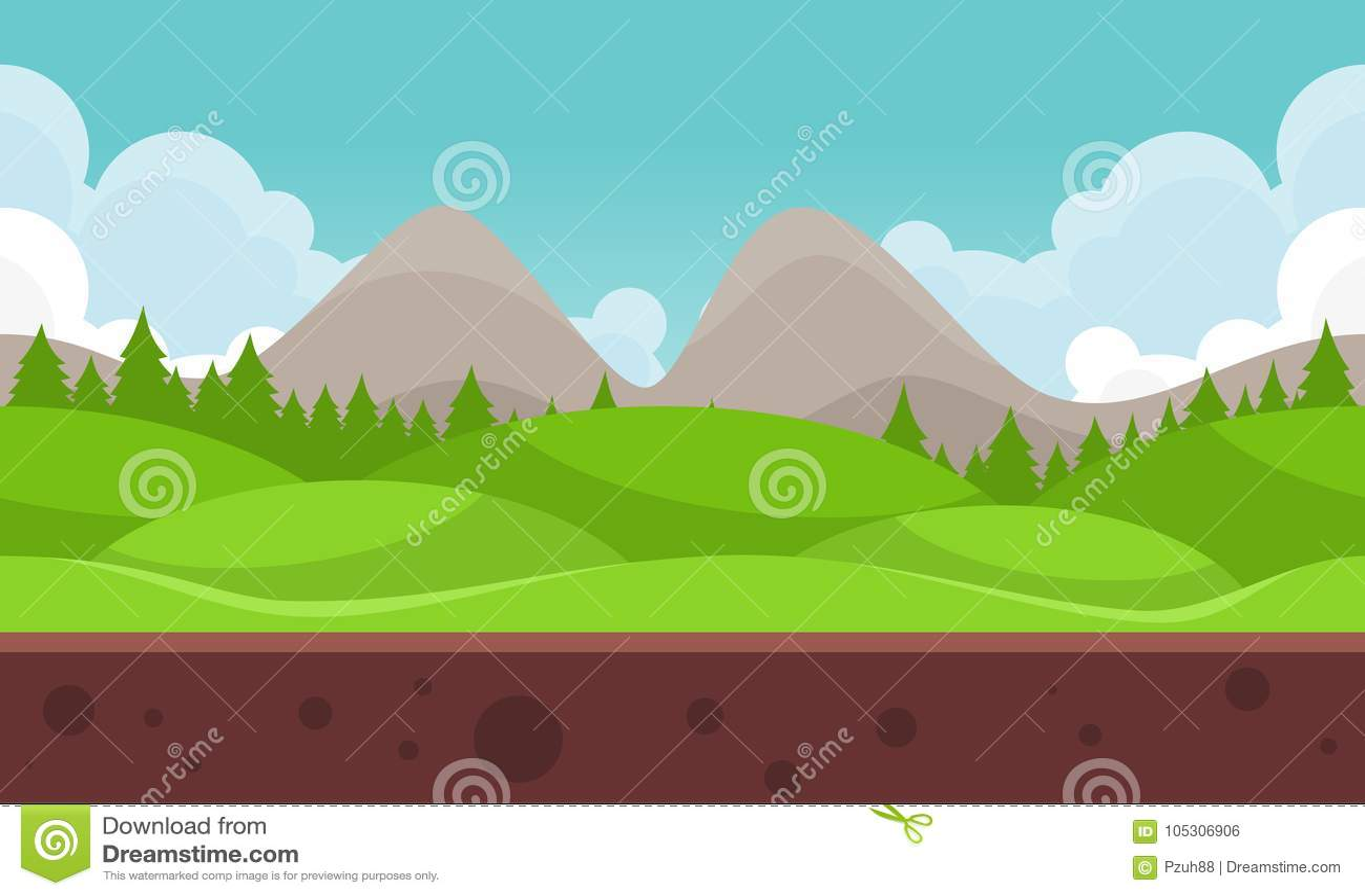 De vlakke Achtergrond van het Bergvideospelletje