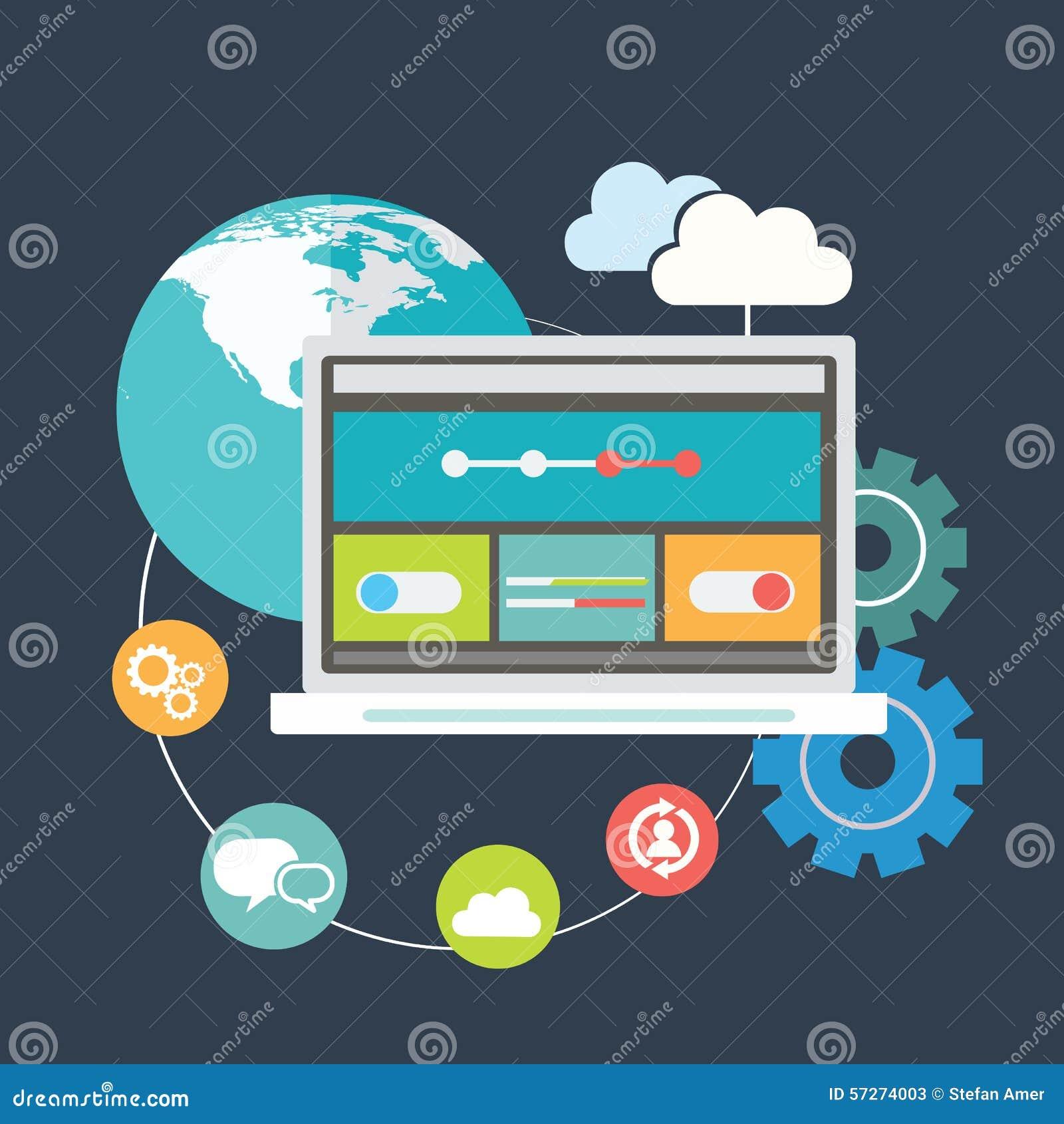 De vlakke de pictogrammenreeks van de ontwerp moderne vectorillustratie van websiteseo optimalisering, programmering verwerkt en