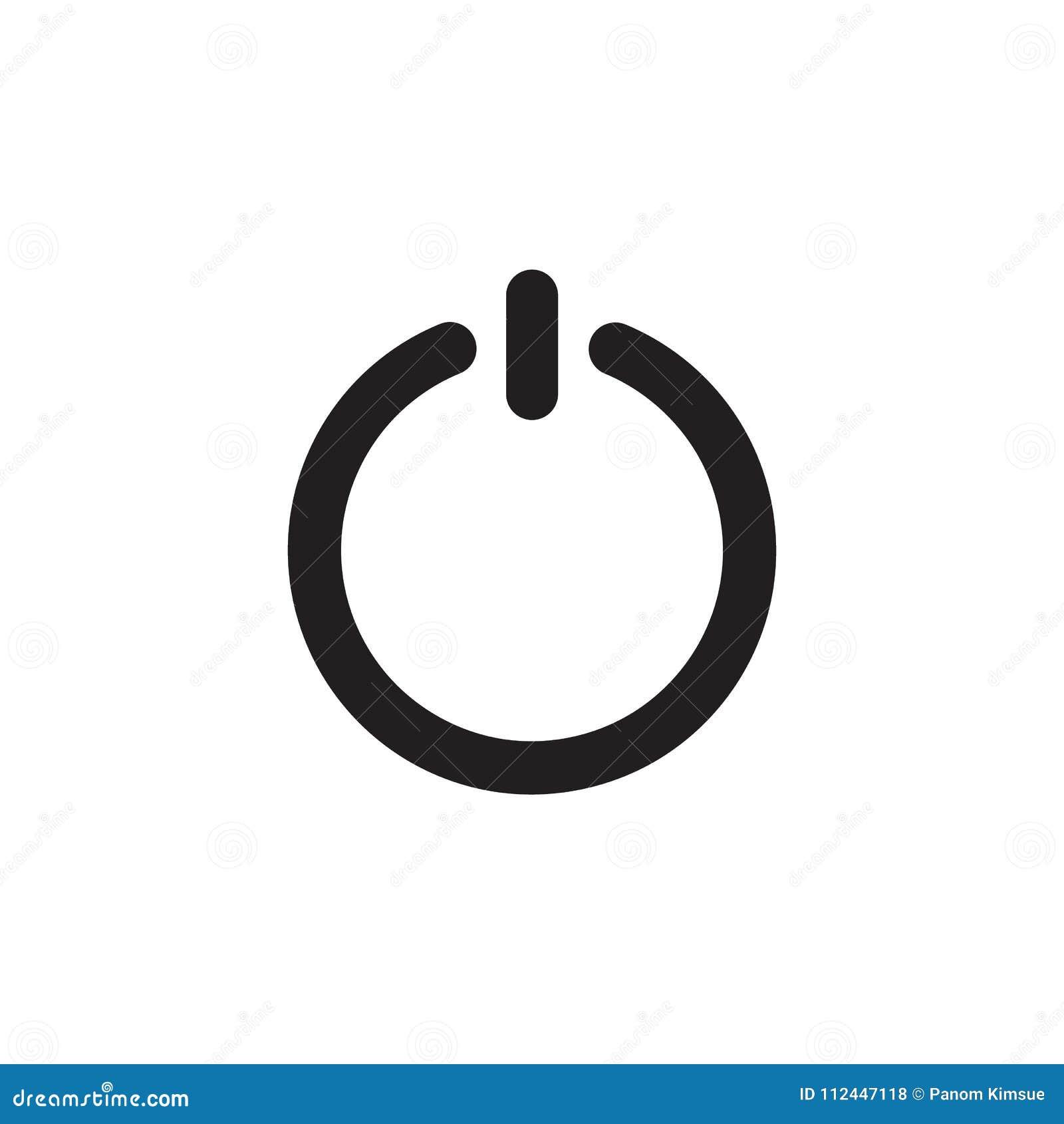 De vlakke die stijl van het machtspictogram op achtergrond wordt geïsoleerd symbool voor uw embleem van het websiteontwerp, app,