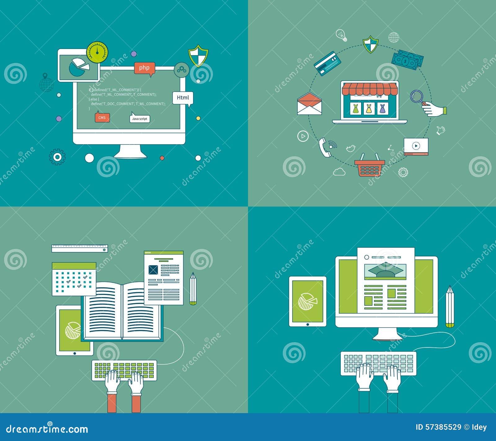 De vlakke geplaatste pictogrammen van de ontwerp moderne vectorillustratie