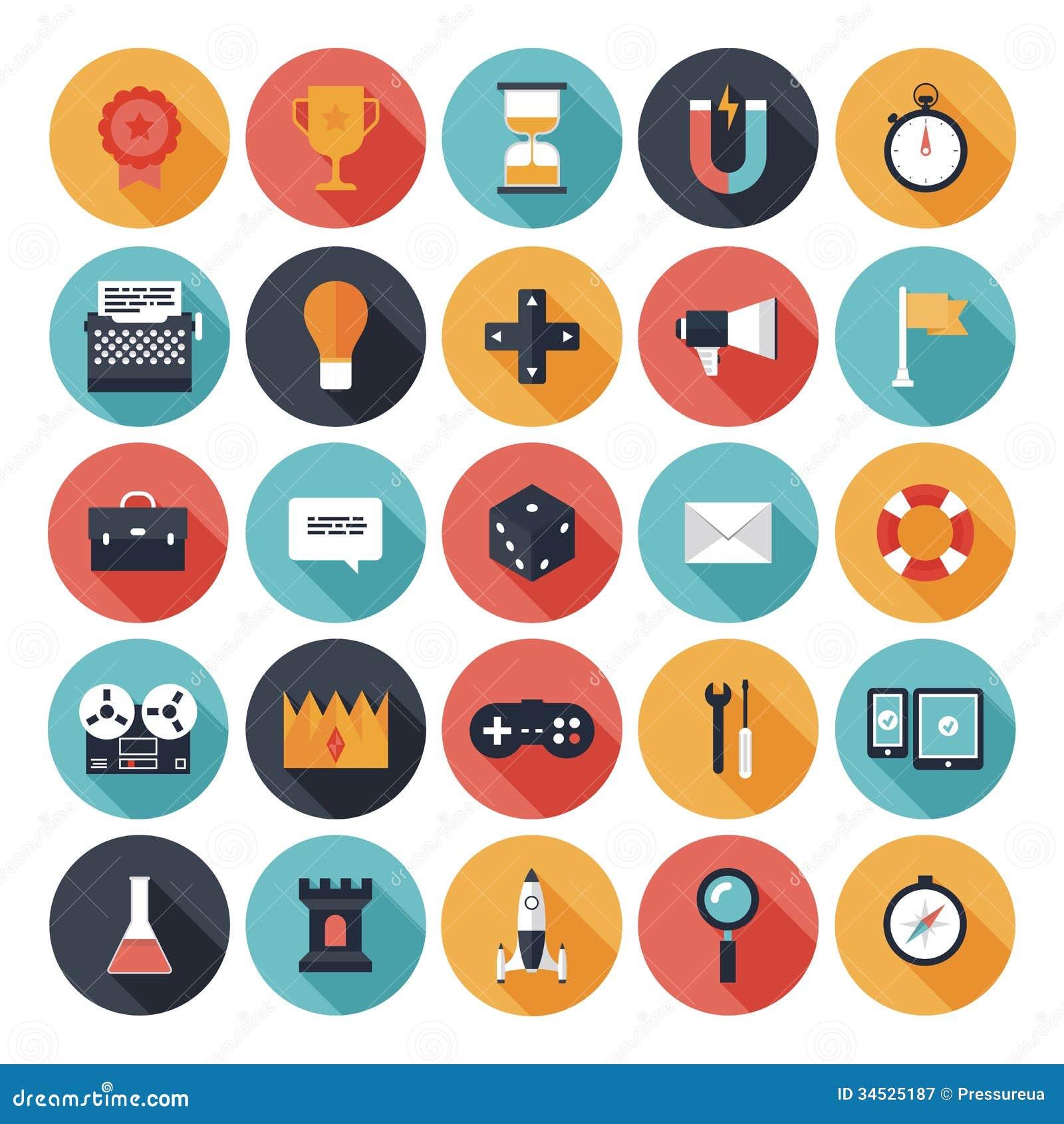 De vlakke geplaatste pictogrammen van het spelontwerp