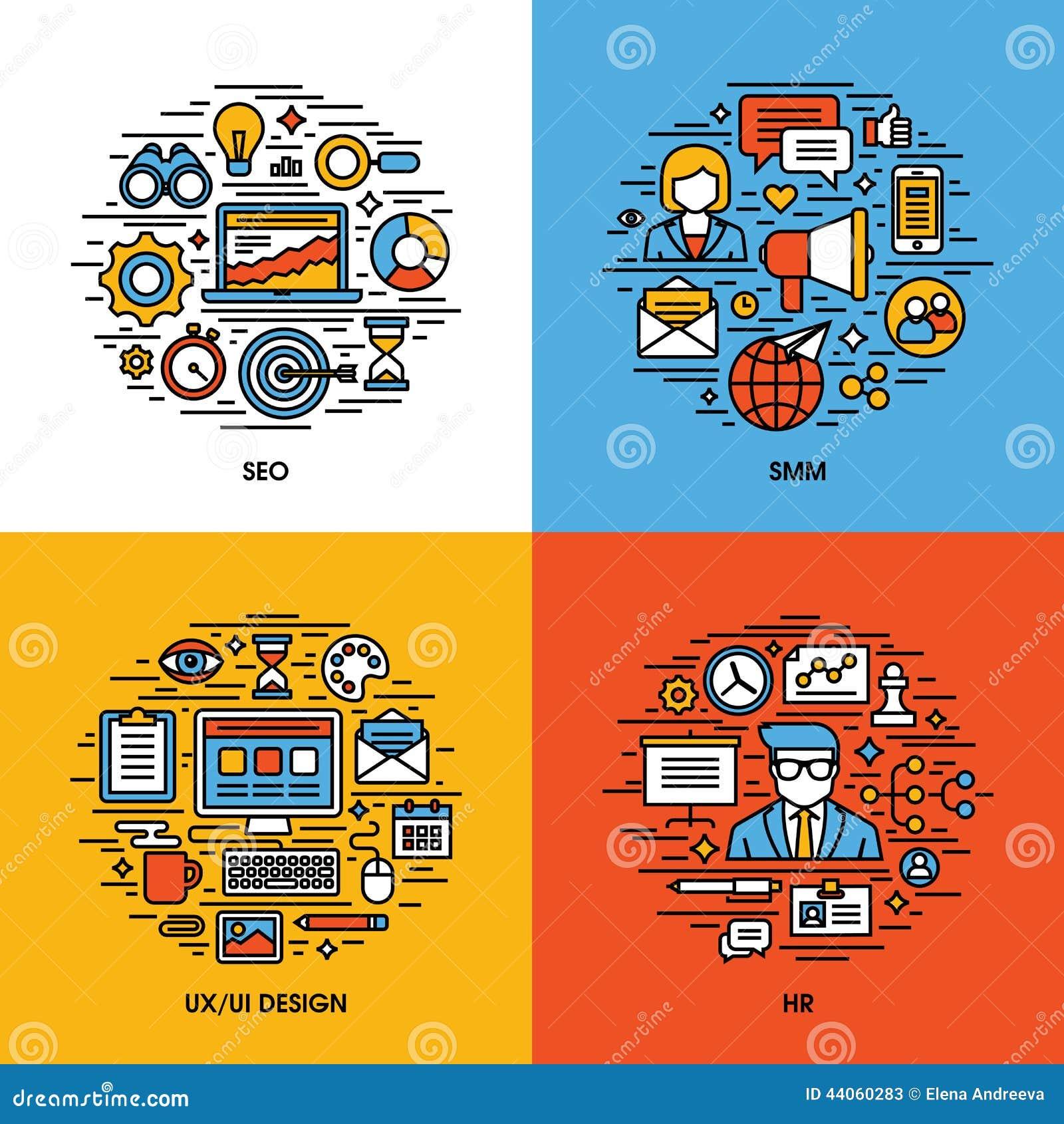 De vlakke reeks van lijnpictogrammen van SEO, SMM, UI en UX ontwerpen,