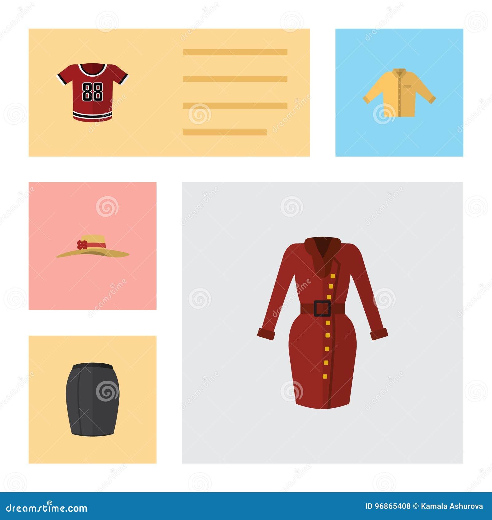 De vlakke Reeks van Pictogramkleren Kleren, Modieuze Kleding, Banyan en Andere Vectorvoorwerpen Omvat ook Kleding, Rok, Hoofddeks