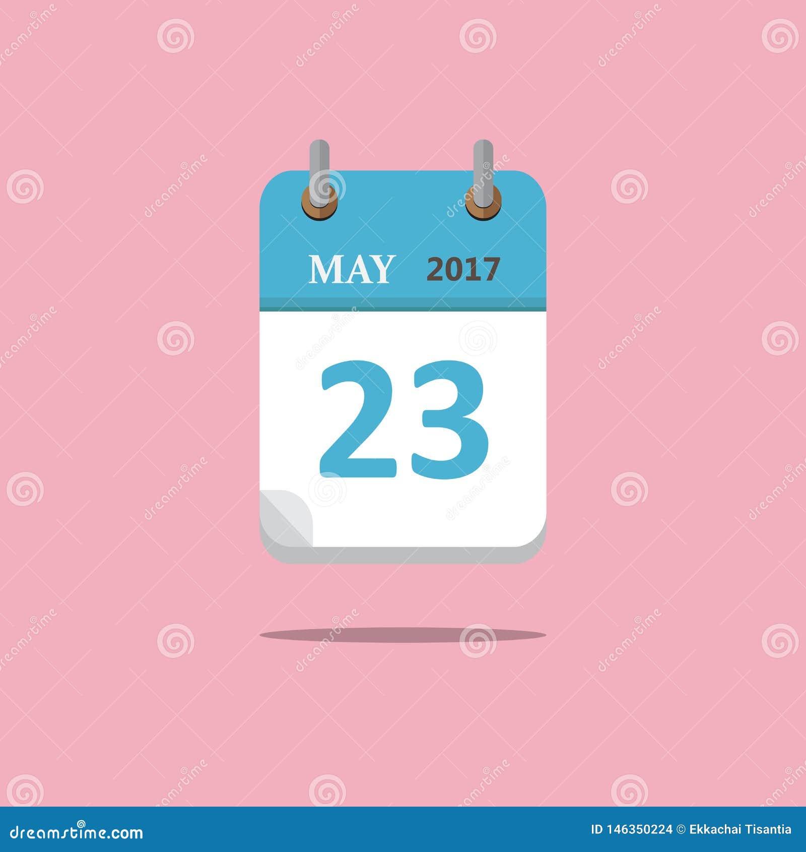 De vlakke stijl van het kalenderpictogram op roze achtergrond Vector Illustratie