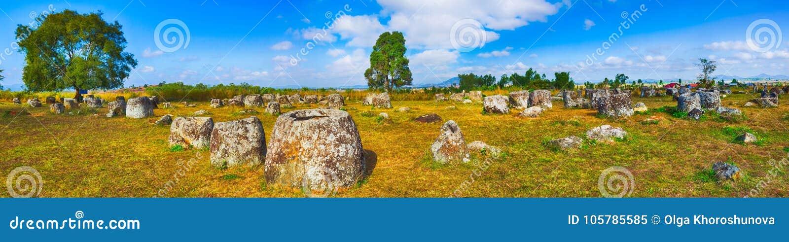De Vlakte van kruiken laos Panorama