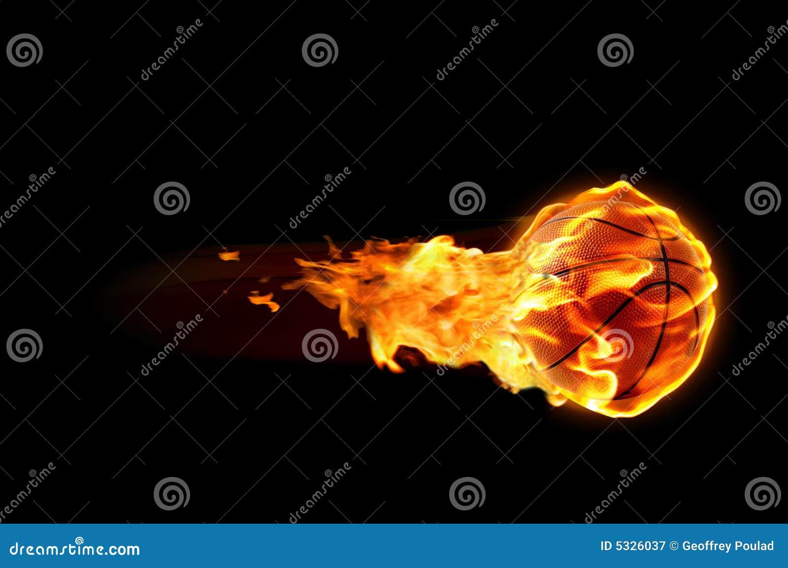 De vlammen van het basketbal