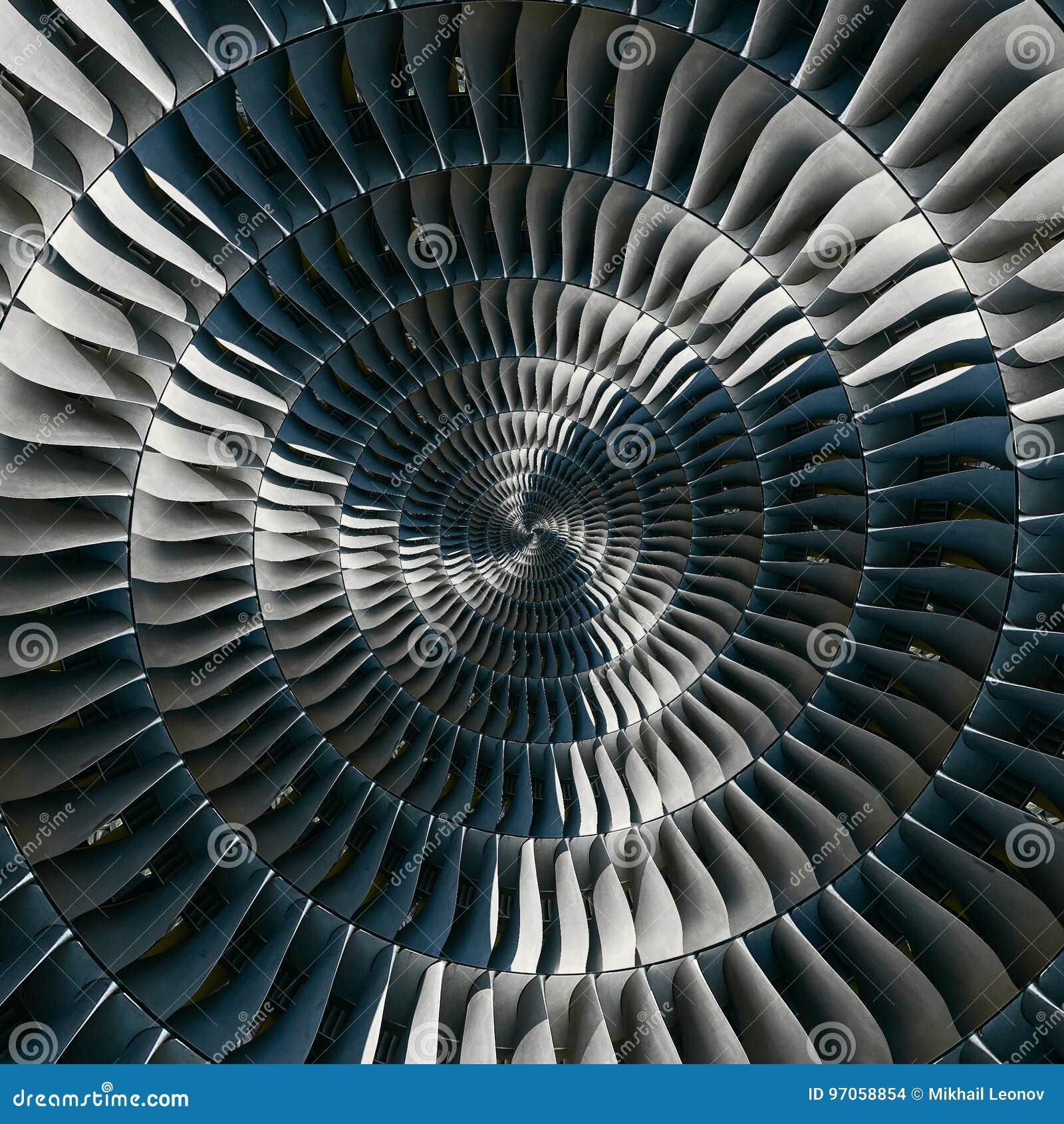 De vleugels spiraalvormige effect van turbinebladen abstracte fractal patroonachtergrond De spiraalvormige achtergrond van de ind