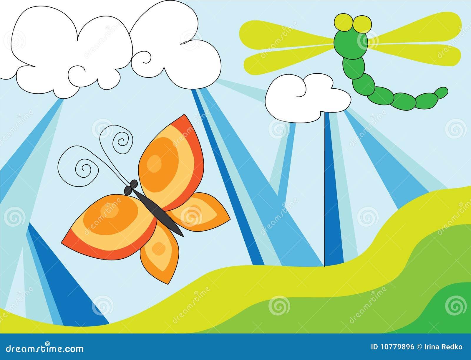 De vlieg en de vlinder van de draak over blauwe hemel