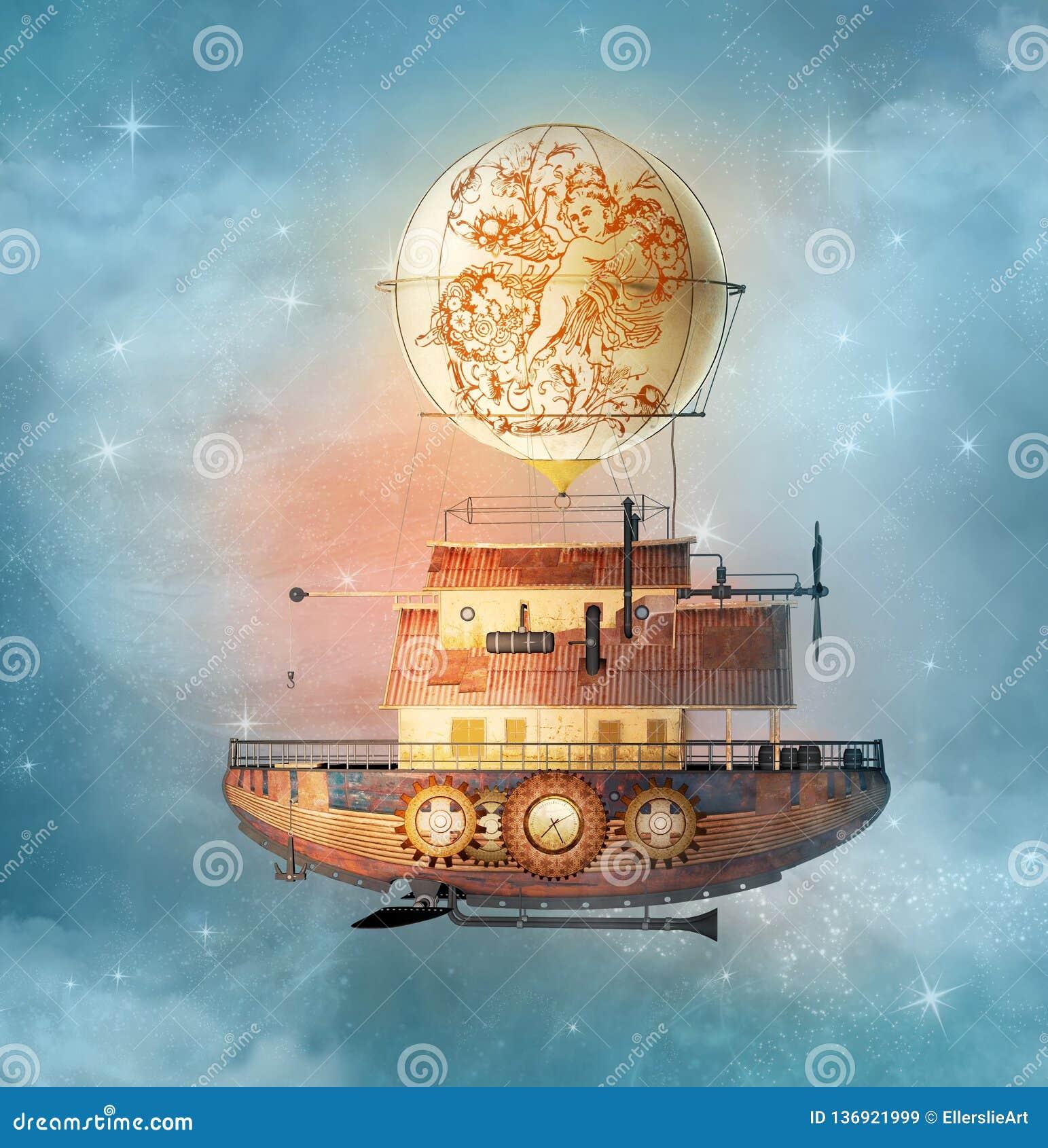 De vliegen van het fantasie steampunk luchtschip in een sterrige hemel