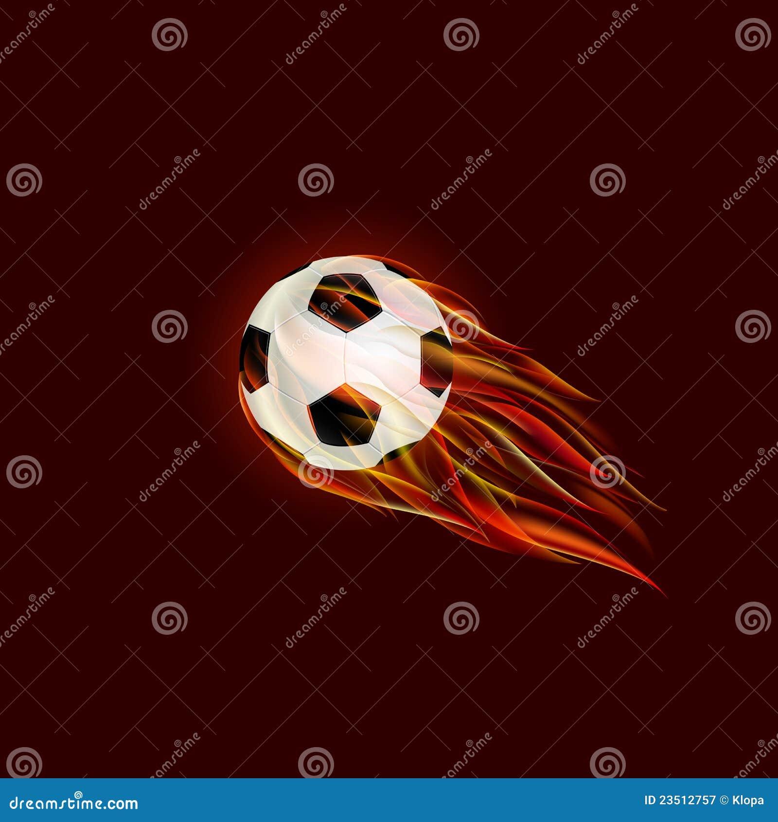 De opvlammende bal van het voetbal op rode achtergrond stock ...