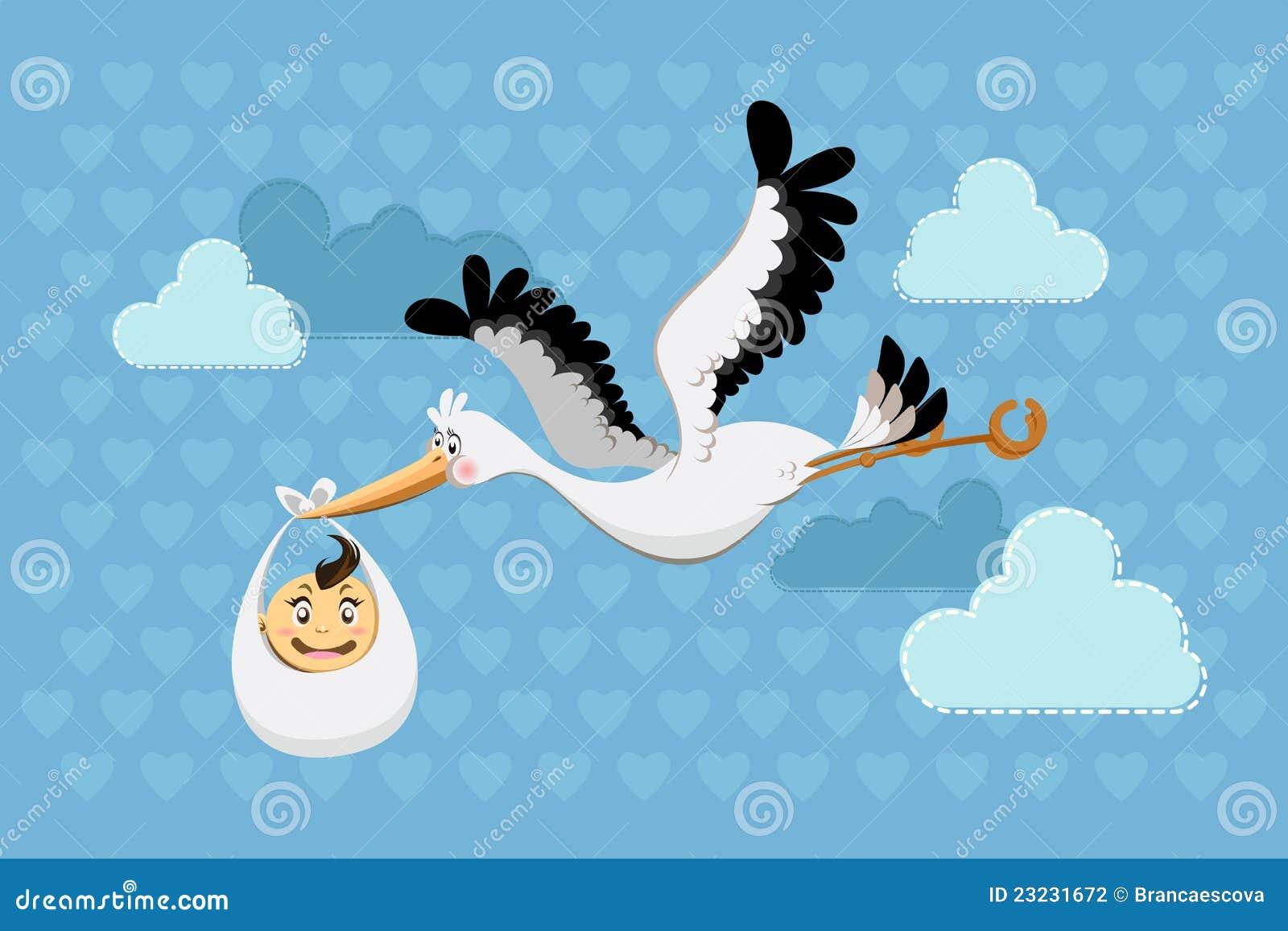 De vliegende jongen van de baby van de levering van de ooievaar stock fotografie afbeelding - Lay outs ruimte van de jongen ...