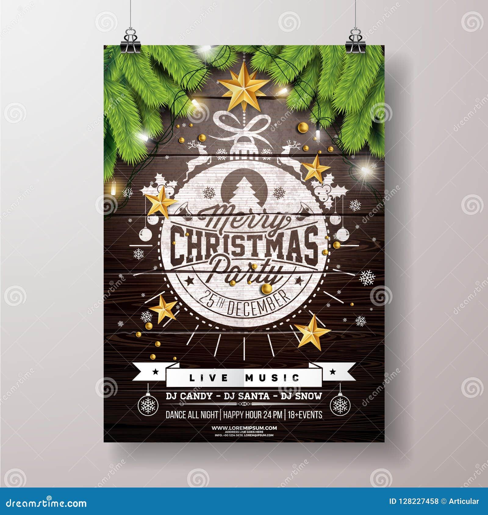 De Vliegerillustratie van de Kerstmispartij met Gouden Ster en Houten Achtergrond van Typografie de Van letters voorziende onVint