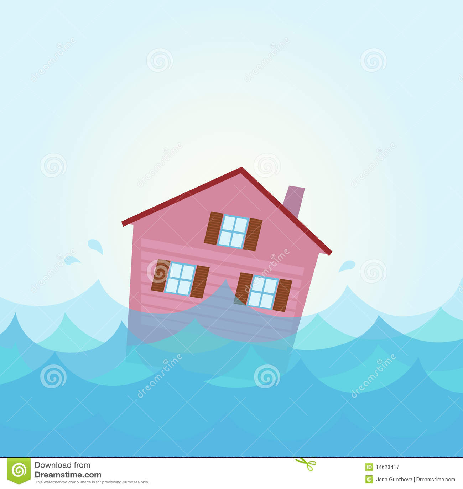 De vloed van het huis huis overstroming onder water vector illustratie afbeelding 14623417 - Huis van de cabriolet ...