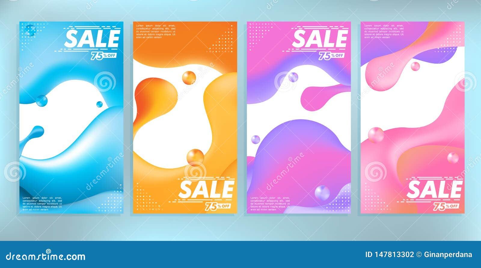 De vloeistof kleurde de abstracte moderne grafische voorraad van de verkoopbanner