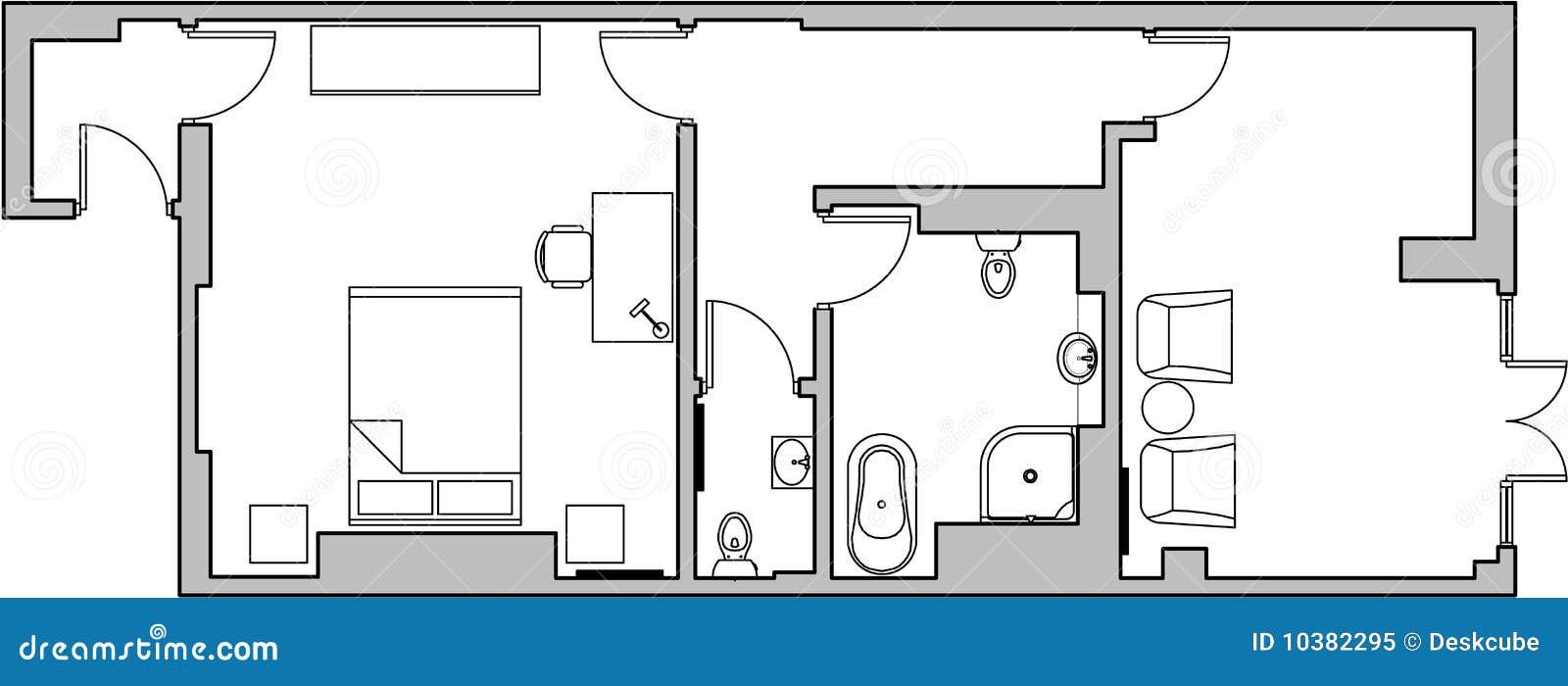 De Vloerplan Van De Architectuur Vector Illustratie