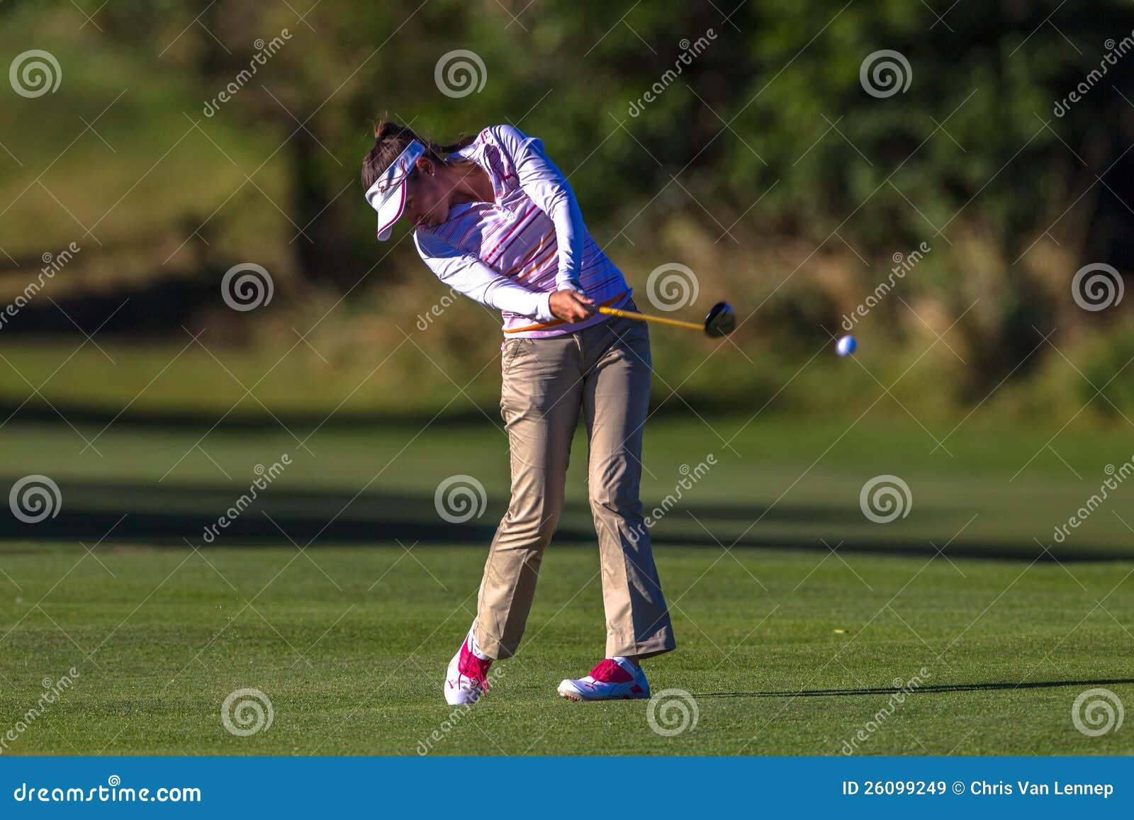 De Vlucht van de Bal van dame Pro Golfer Bregman Swing Staking