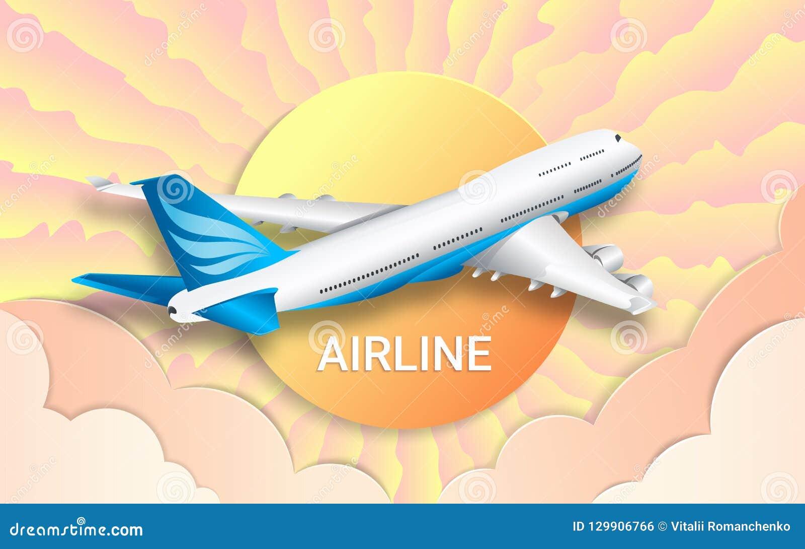 De vlucht van een passagiersvoering luchtvaartlijnen Reis Kleurrijke hemel, heldere zon en roze wolken Het effect van gesneden do