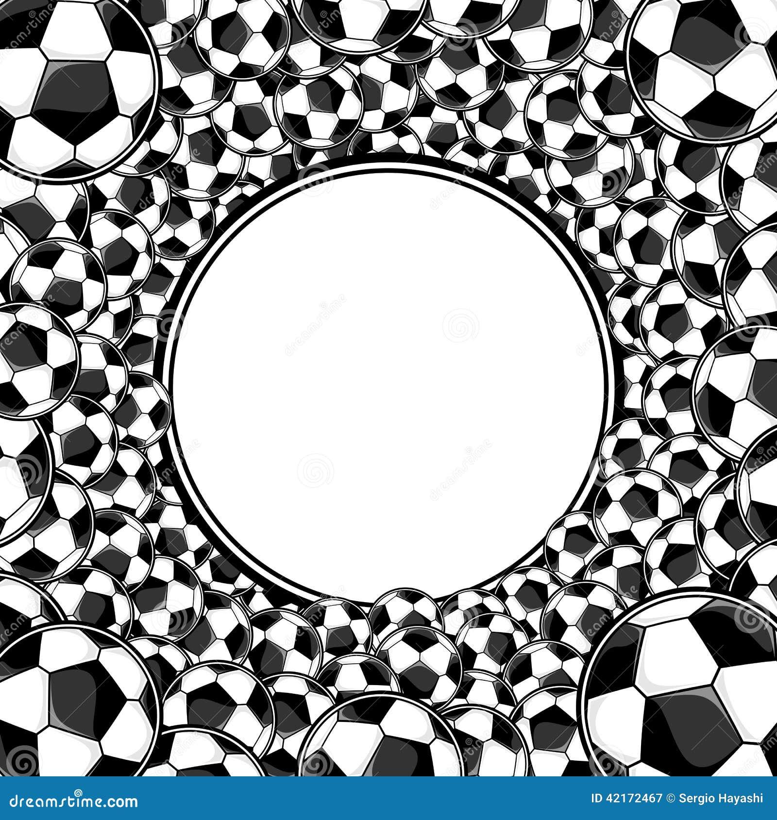 De voetbalballen omcirkelen ontworpen achtergrond