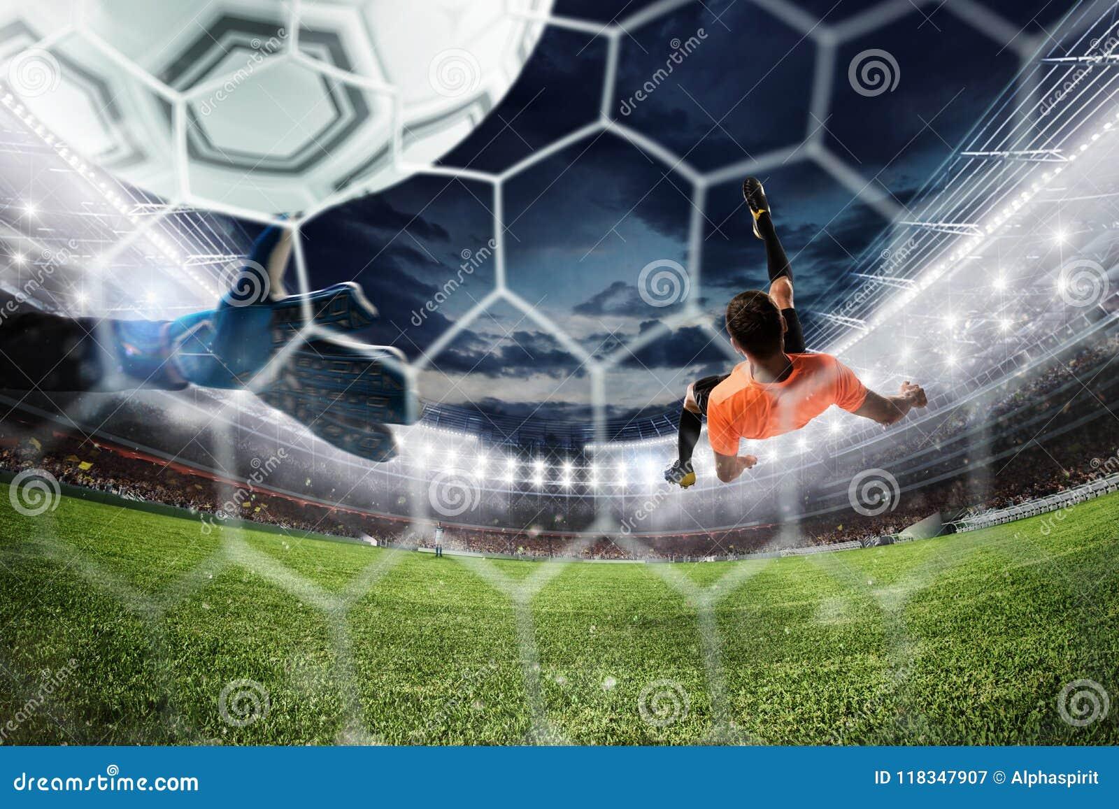 De voetbalstriker raakt de bal met een acrobatische fietsschop het 3d teruggeven