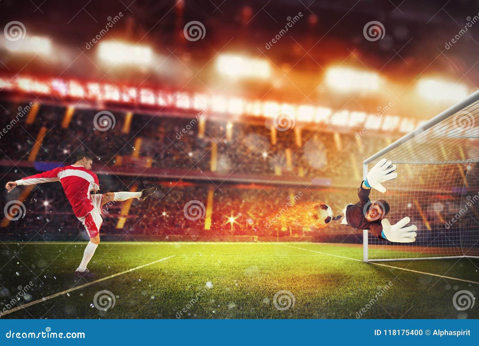 De voetbalstriker raakt de bal met genoeg bevoegdheid om op brand te gaan
