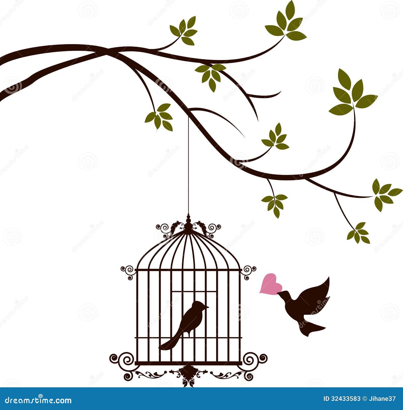De vogel brengt liefde aan de vogel in de kooi