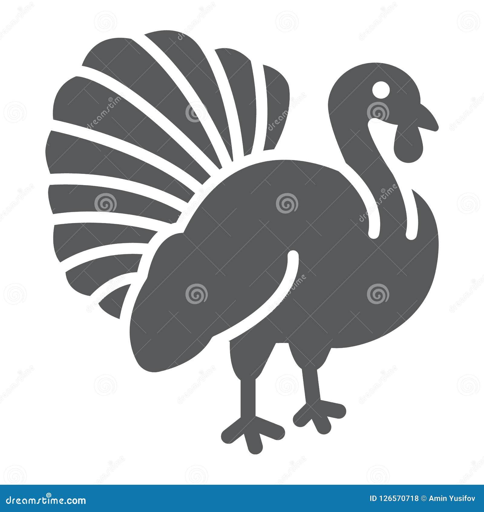 De vogel glyph pictogram van Turkije, dier en landbouwbedrijf, gevogelteteken, vectorgrafiek, een stevig patroon op een witte ach