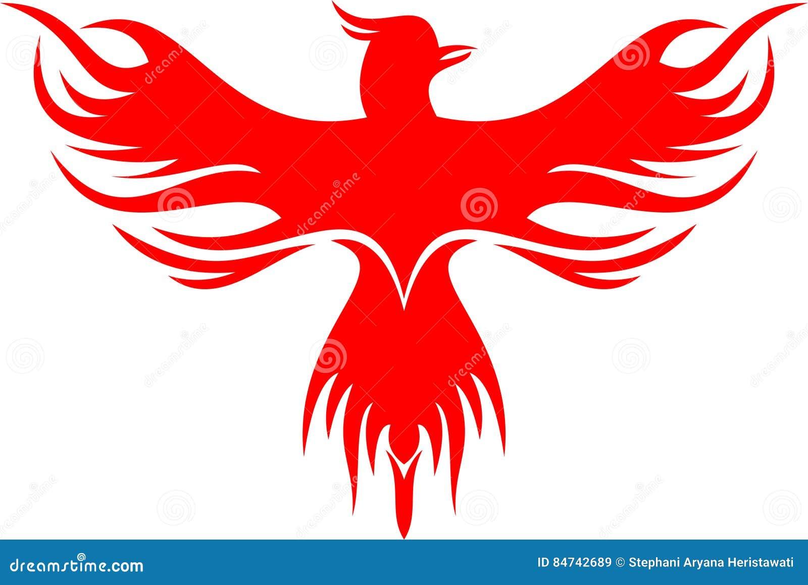 De vogel van Phoenix van het voorraadembleem het rode vliegen