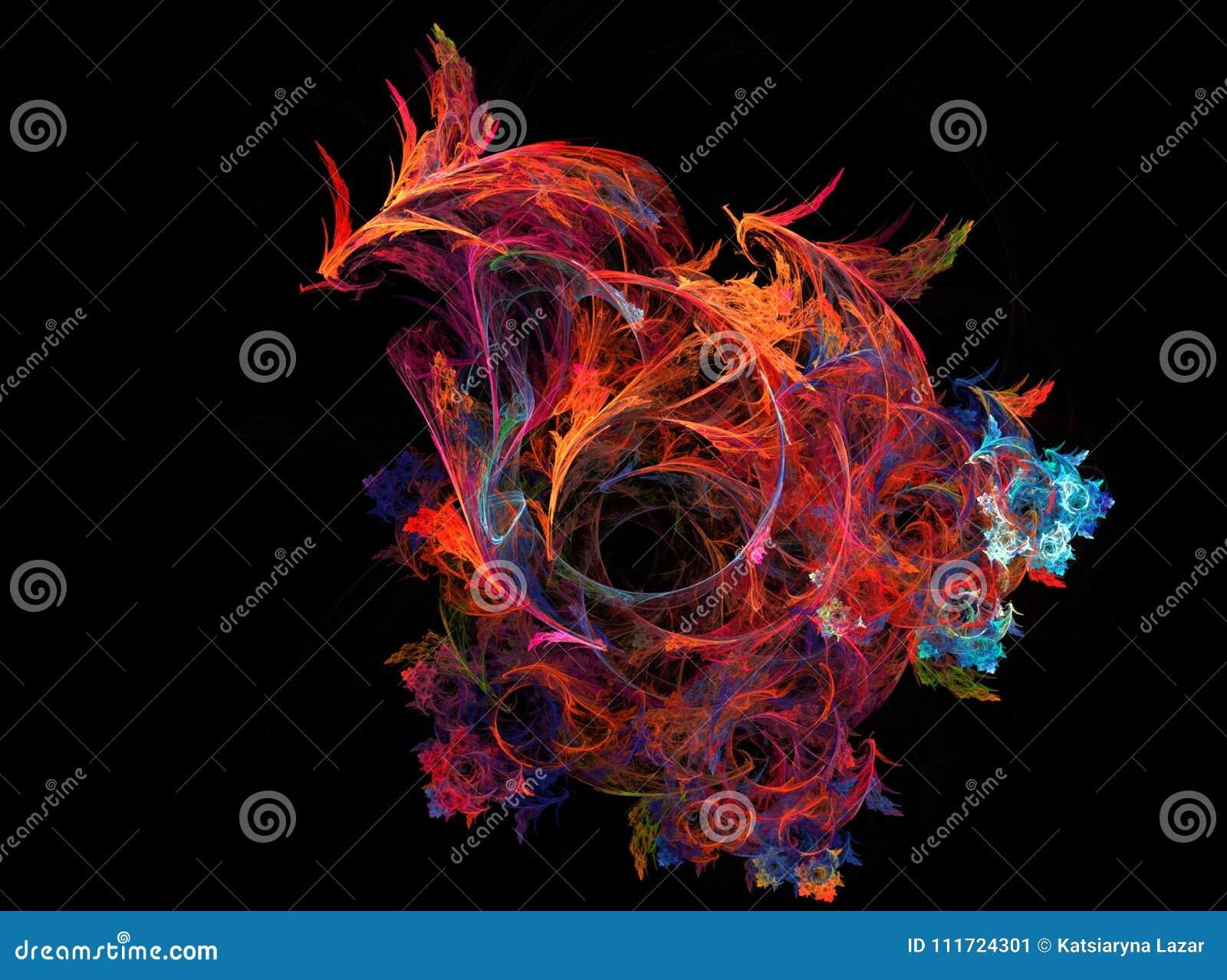 De vogeldraak van Phoenix van de computer grafische Brand De digitale rook van de kunstmuziek Fractal grafische kleurrijke achter
