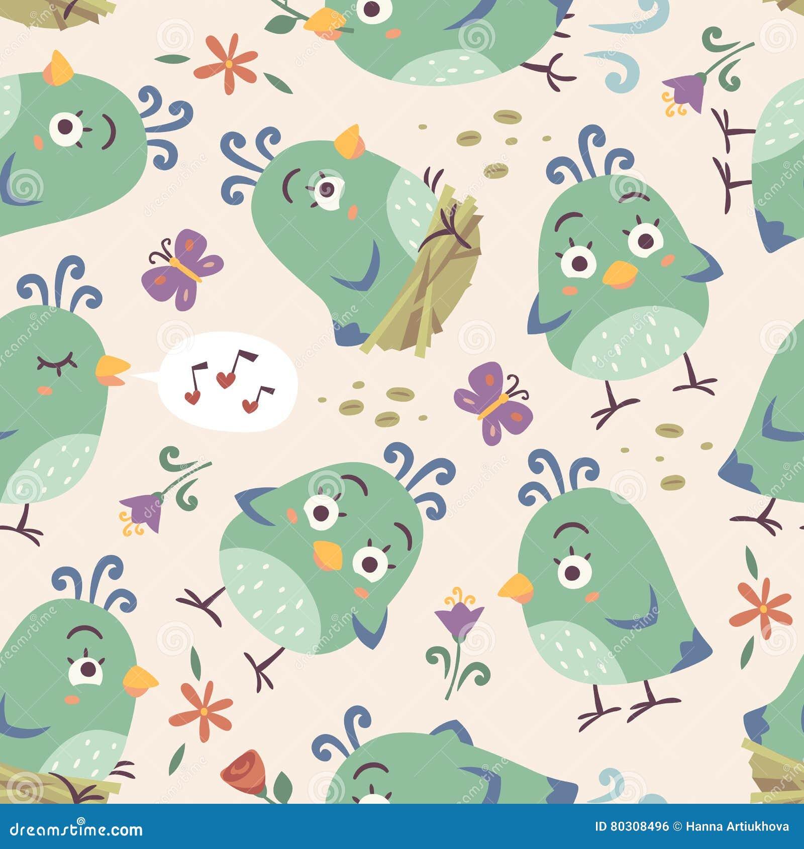 De vogels naadloos patroon van de beeldverhaalstijl