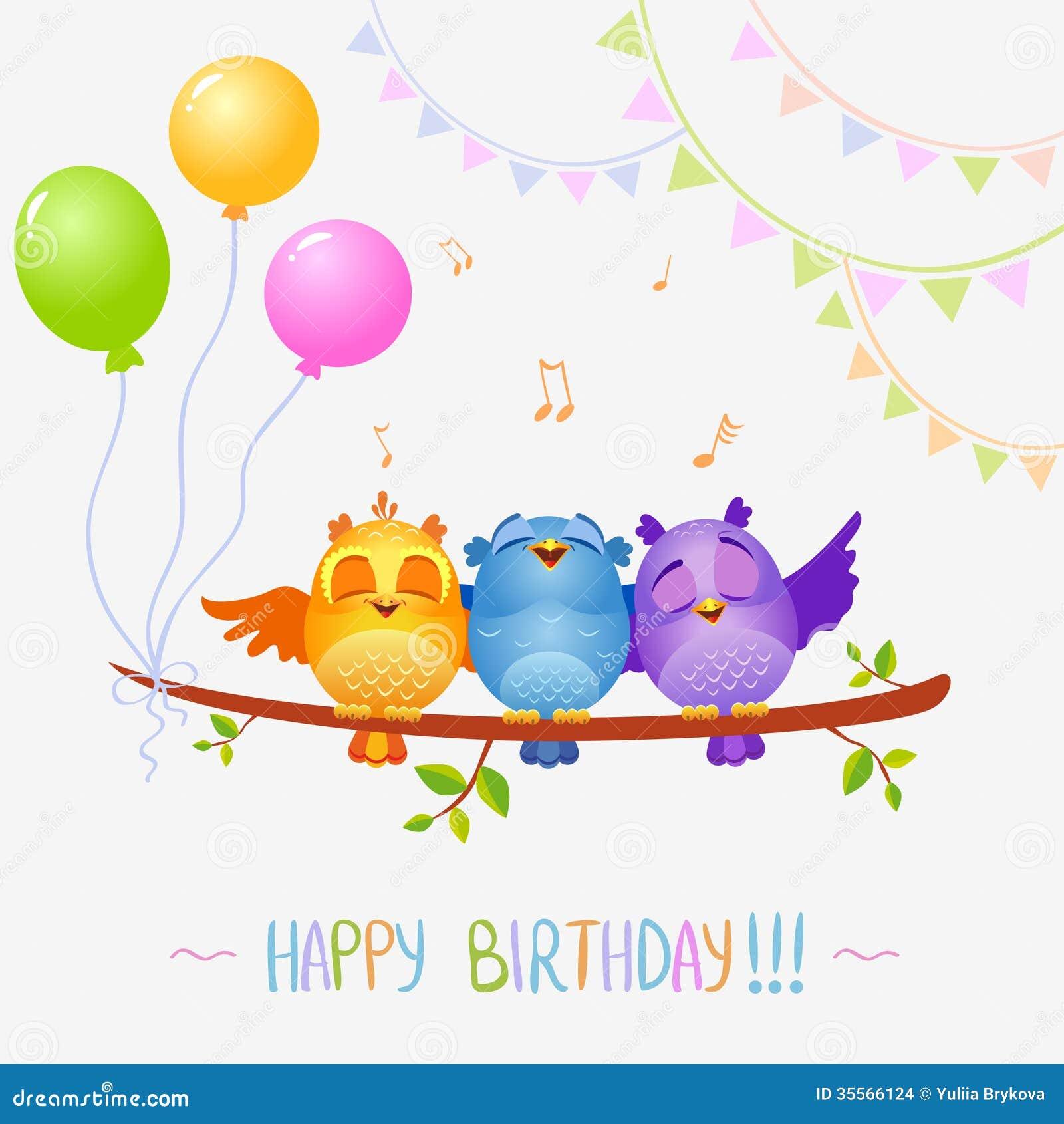De Vogels Zingen Verjaardag Vector Illustratie Illustratie