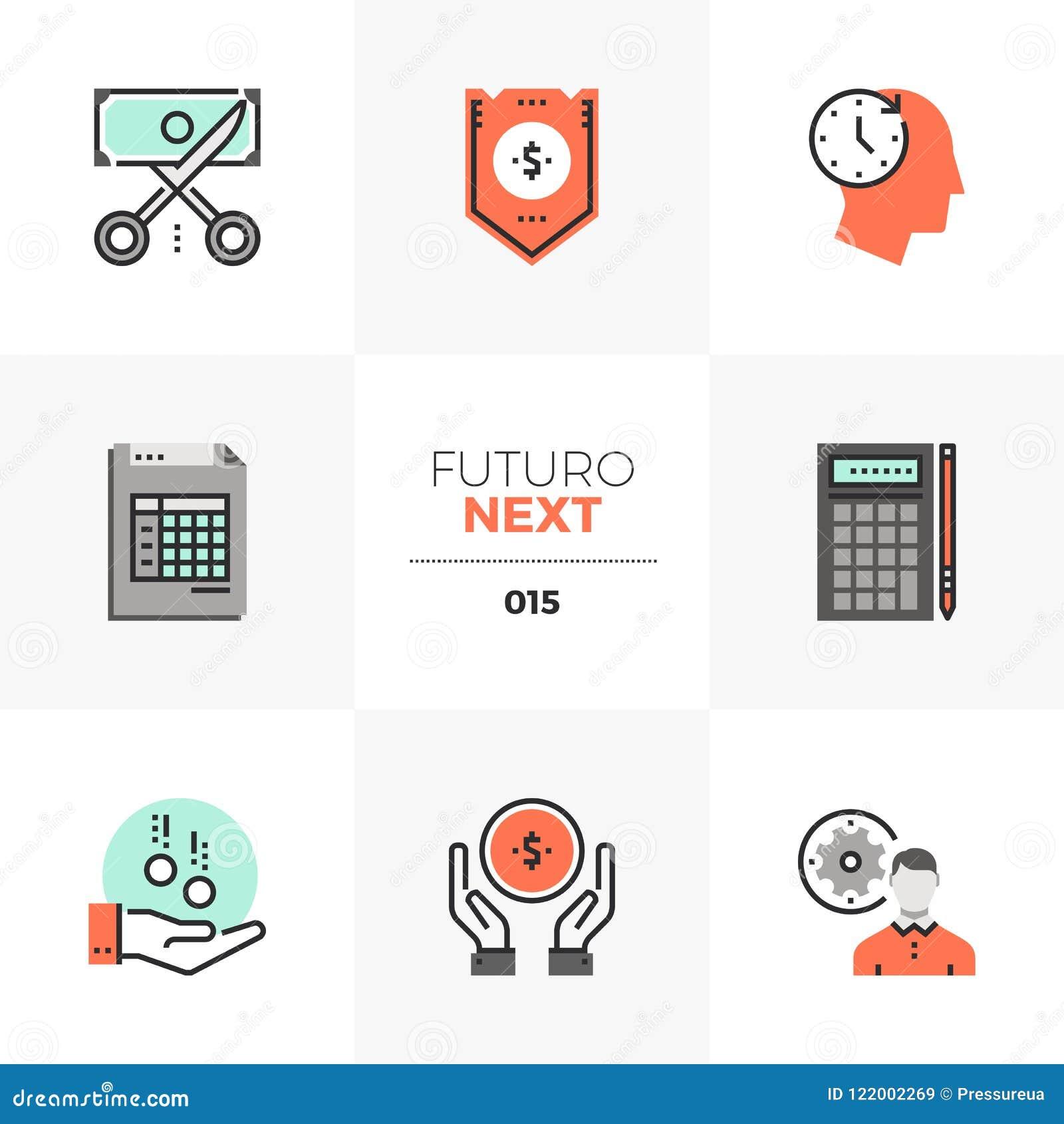 De Volgende Pictogrammen van Futuro van de bedrijfbegroting