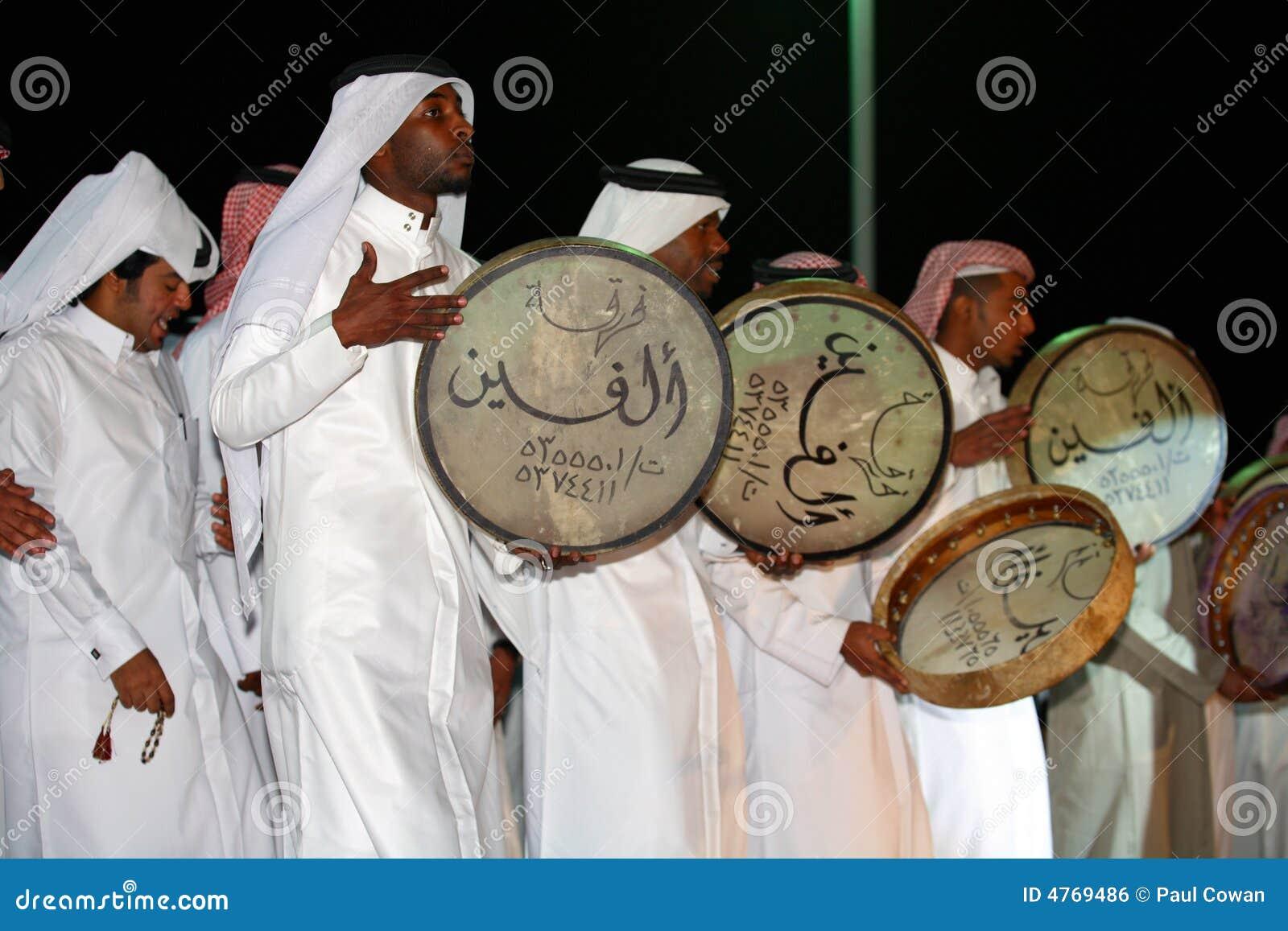 De volksslagwerkers van Qatari