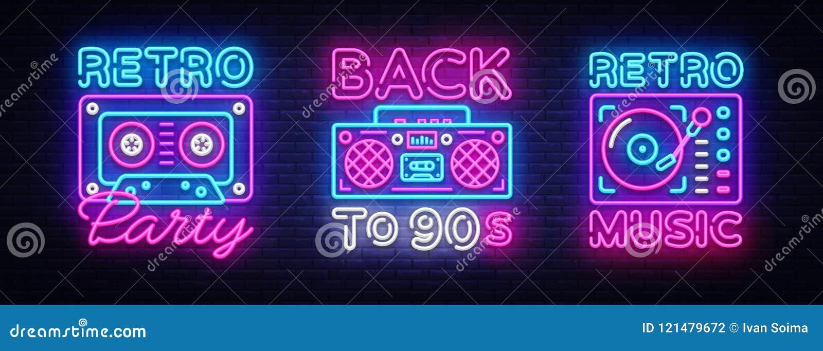 De volta à coleção do cartaz 90s, ao cartão ou ao convite de néon, molde do projeto Sinal de néon das gavetas retros do gravador