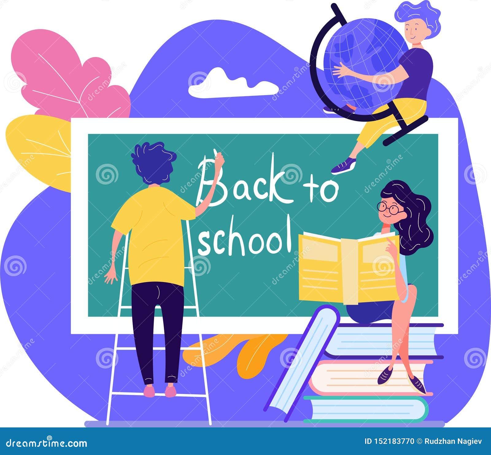De volta ao conceito da escola com os três estudantes novos que escrevem o texto