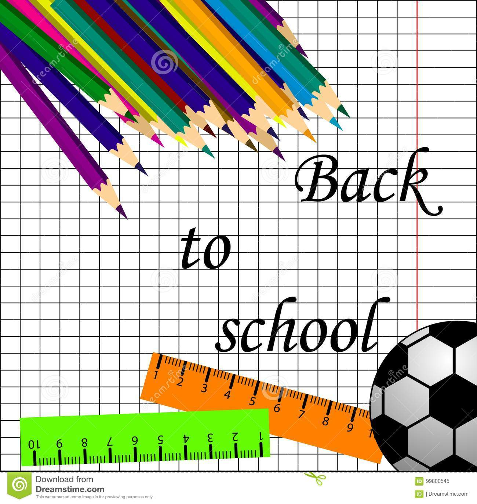 De volta ao projeto do cartaz do título da escola em um quadro-negro com artigos da escola em um fundo Ilustração Editable do vet