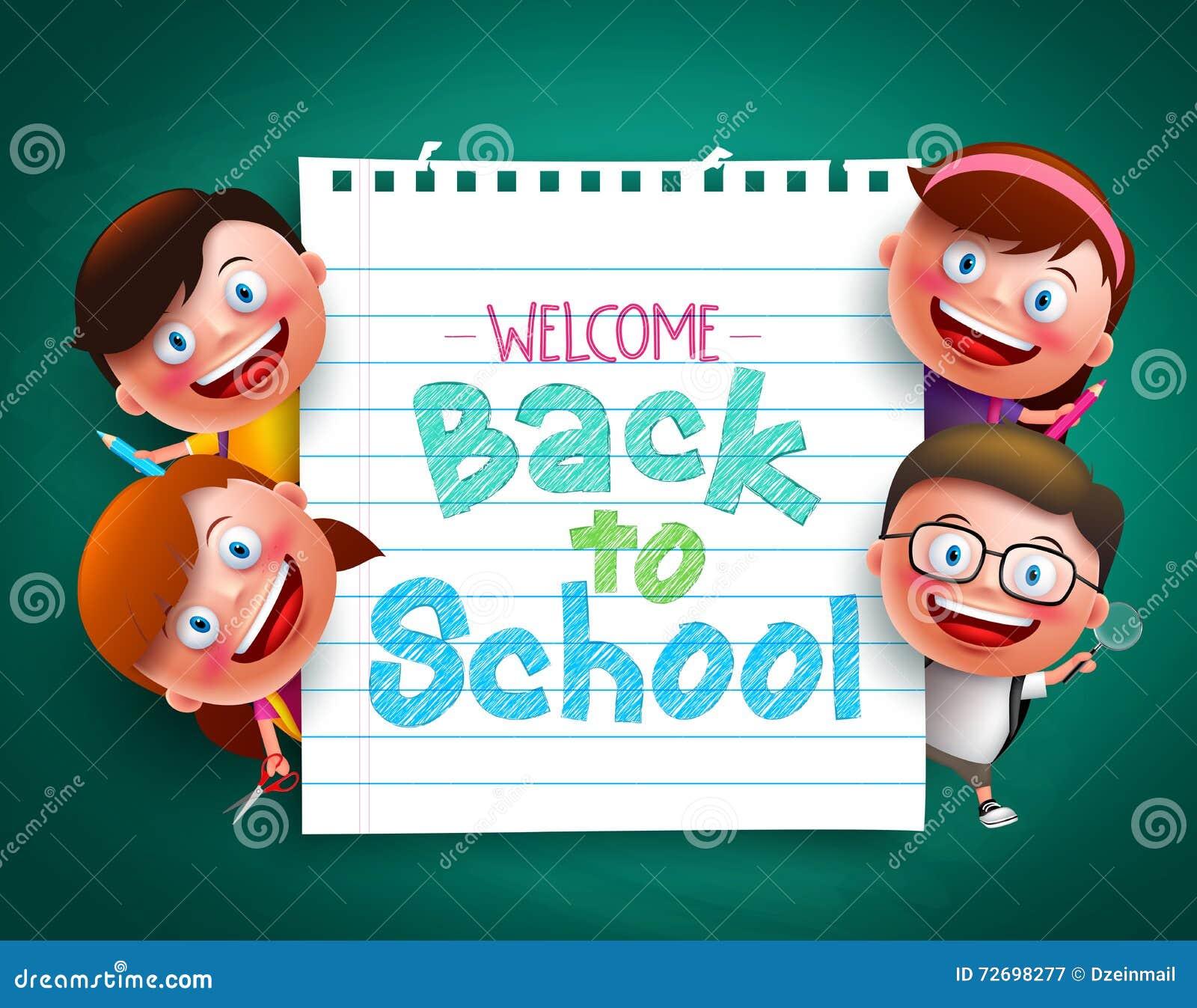 De volta ao texto colorido da escola escrito no papel com crianças engraçadas vector caráteres