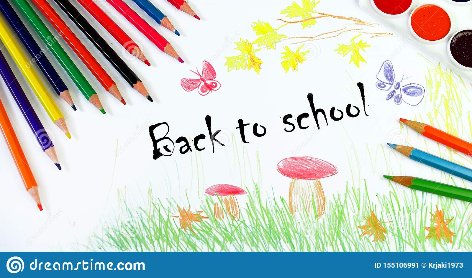 De volta ? escola Conceito do começo do ano escolar O desenho das crianças do outono Tire o outono Meu próprio projeto de tiragem