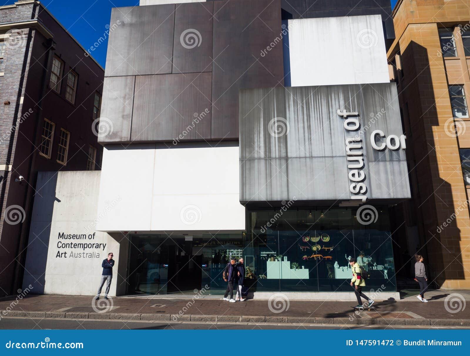 De voorgevel bouw van het Museum van Eigentijdse Art Australia-MCB is het belangrijke museum van Australi? gewijd aan het tentoon