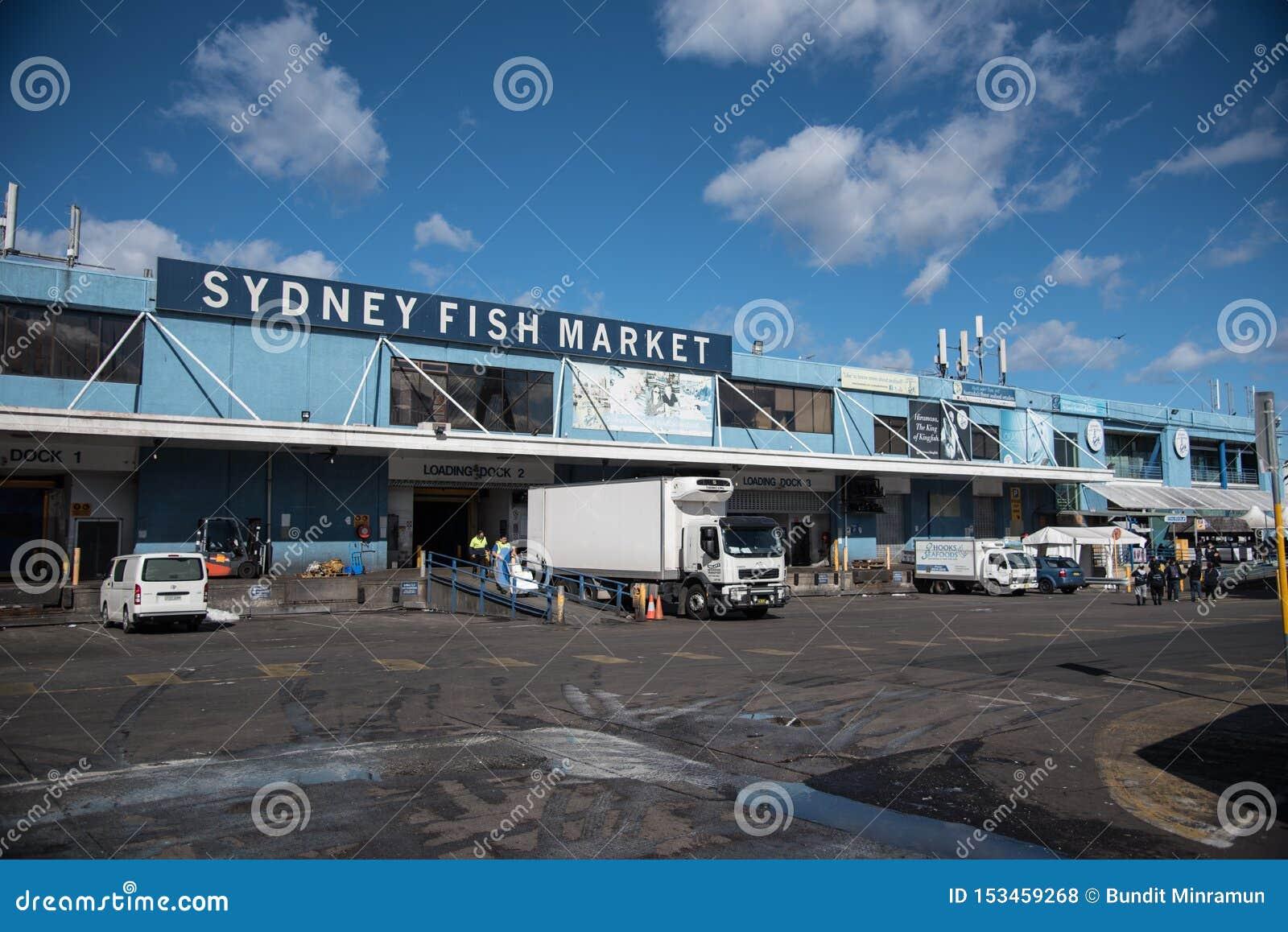 De voorgevel bouw van Sydney Fish Market is, neemt de Vissenmarkt een werkende vissershaven, in het groot, verse zeevruchtenklein