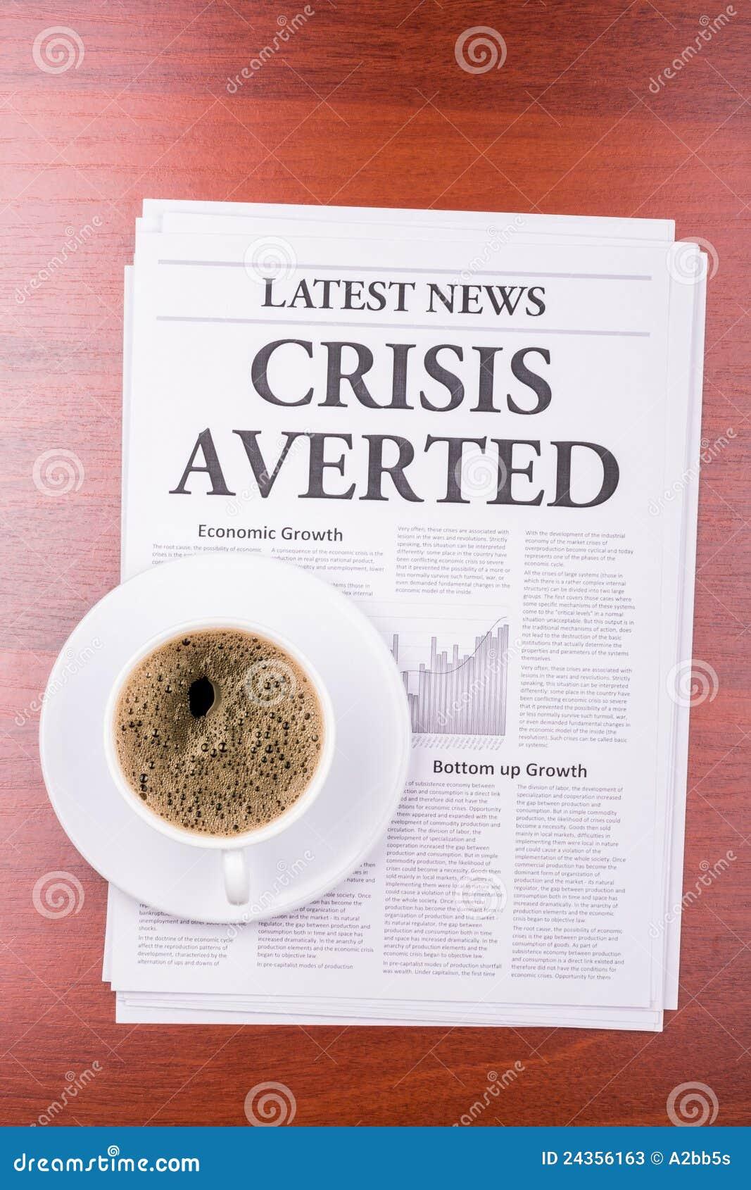 De VOORKOMEN krantenCRISIS en koffie