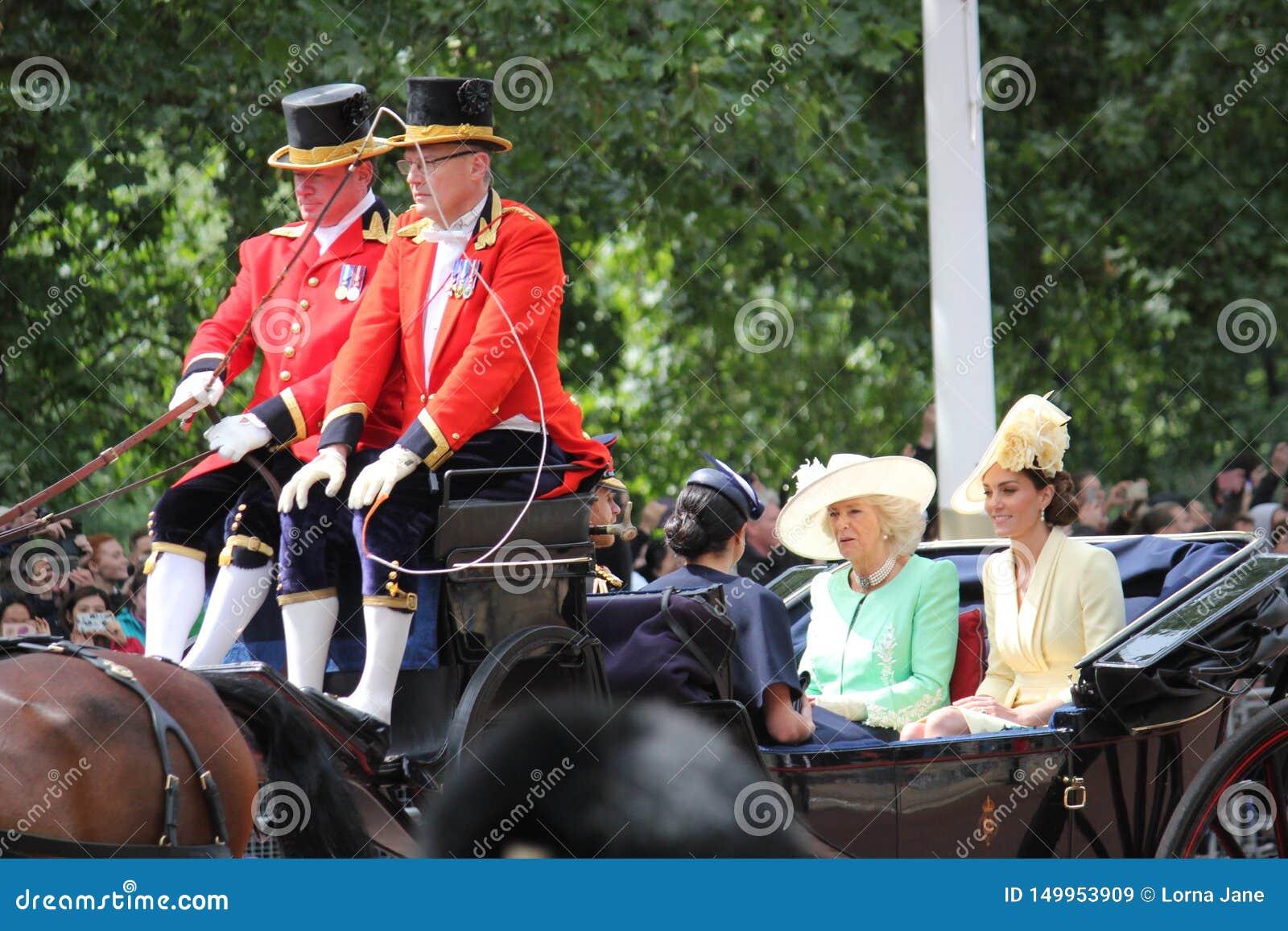 De voorraad van Harry van Meghan Markle & van de Prins, Londen het UK, 8 Juni 2019 - Meghan Markle Prince Harry Trooping de kleur