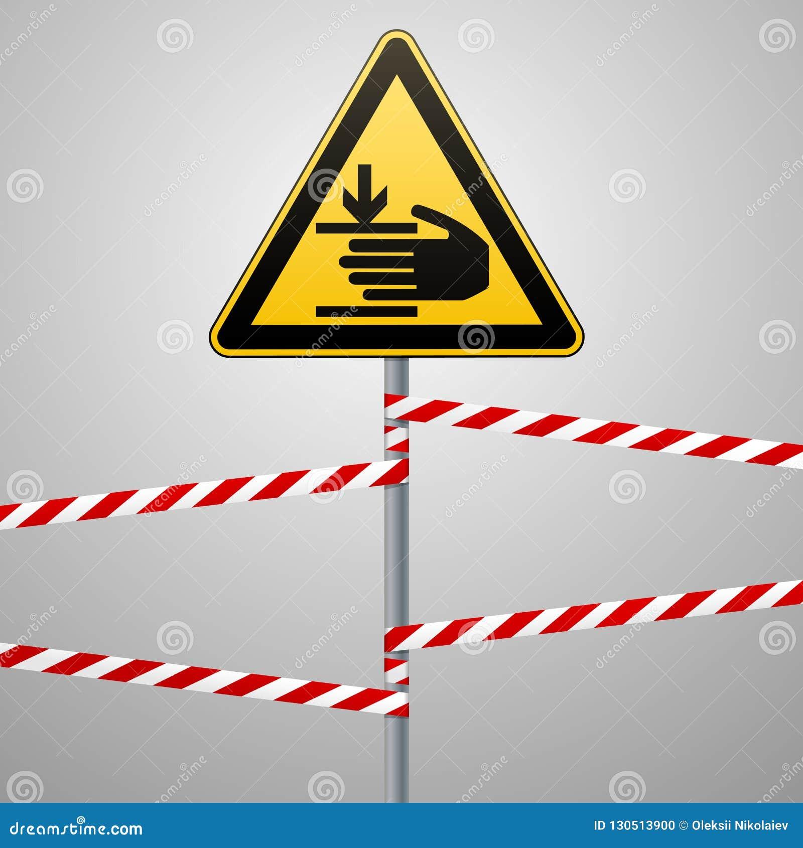 De voorzichtigheid, handen kan worden verwond De aandacht is gevaarlijk Waarschuwingsbordveiligheid Een gele driehoek met een zwa