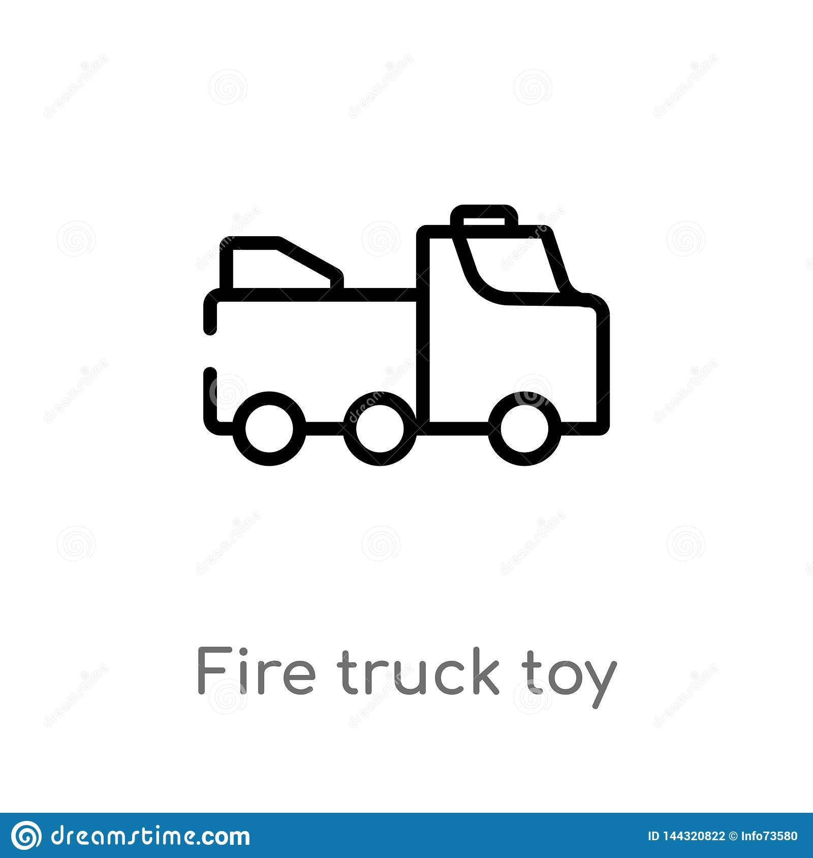 De vrachtwagenstuk speelgoed van de overzichtsbrand vectorpictogram de geïsoleerde zwarte eenvoudige illustratie van het lijnelem