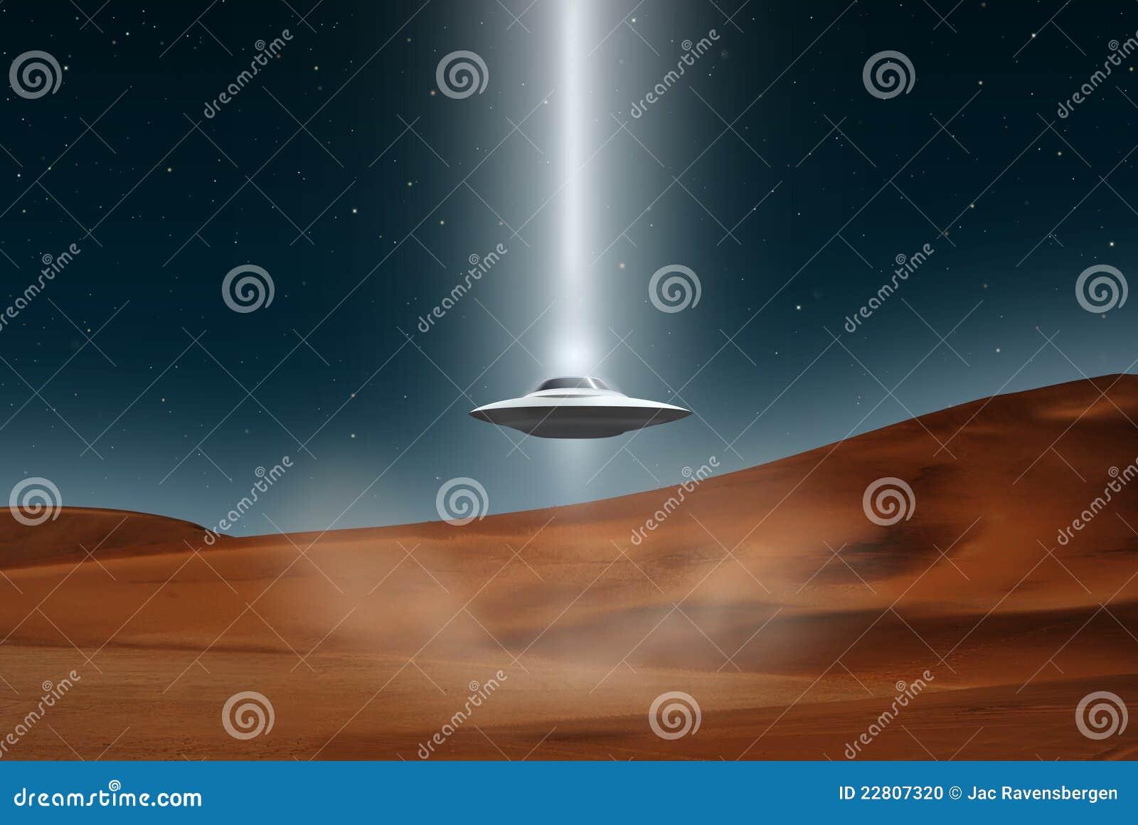 De vreemde landende woestijn van vliegtuigenufo